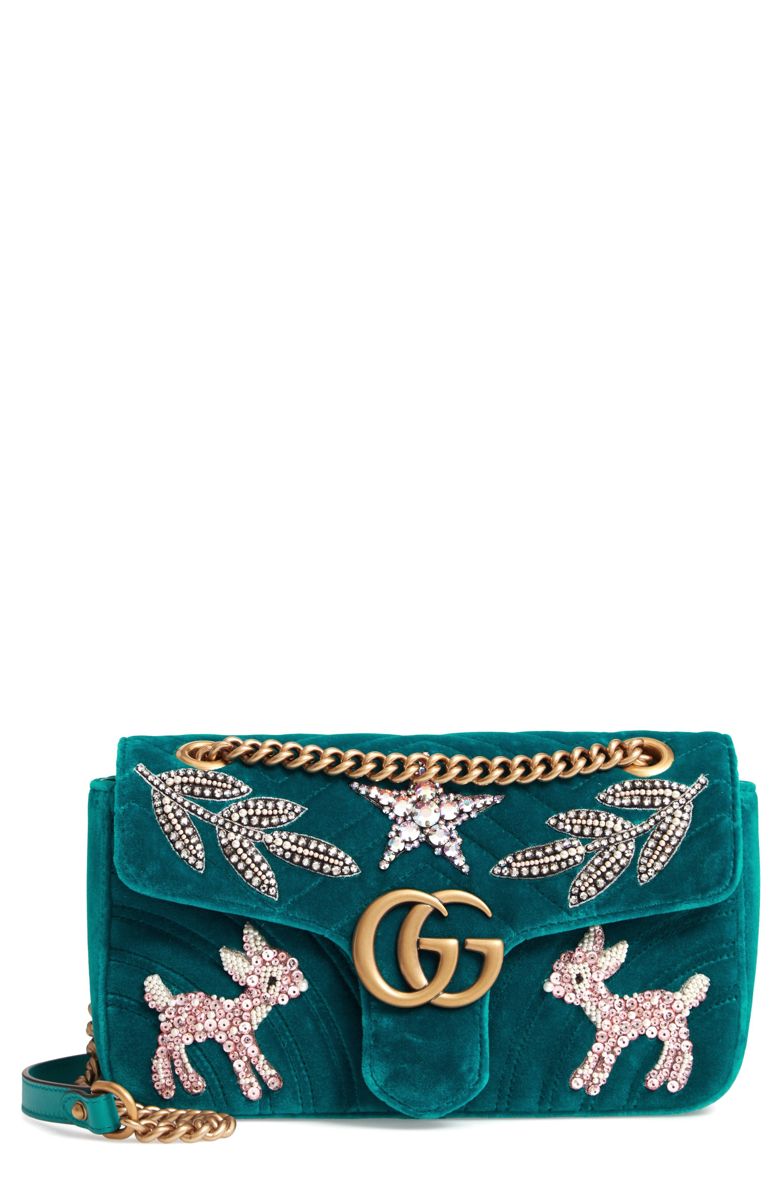 GG Marmont 2.0 Matelassé Velvet Shoulder Bag,                         Main,                         color, 440