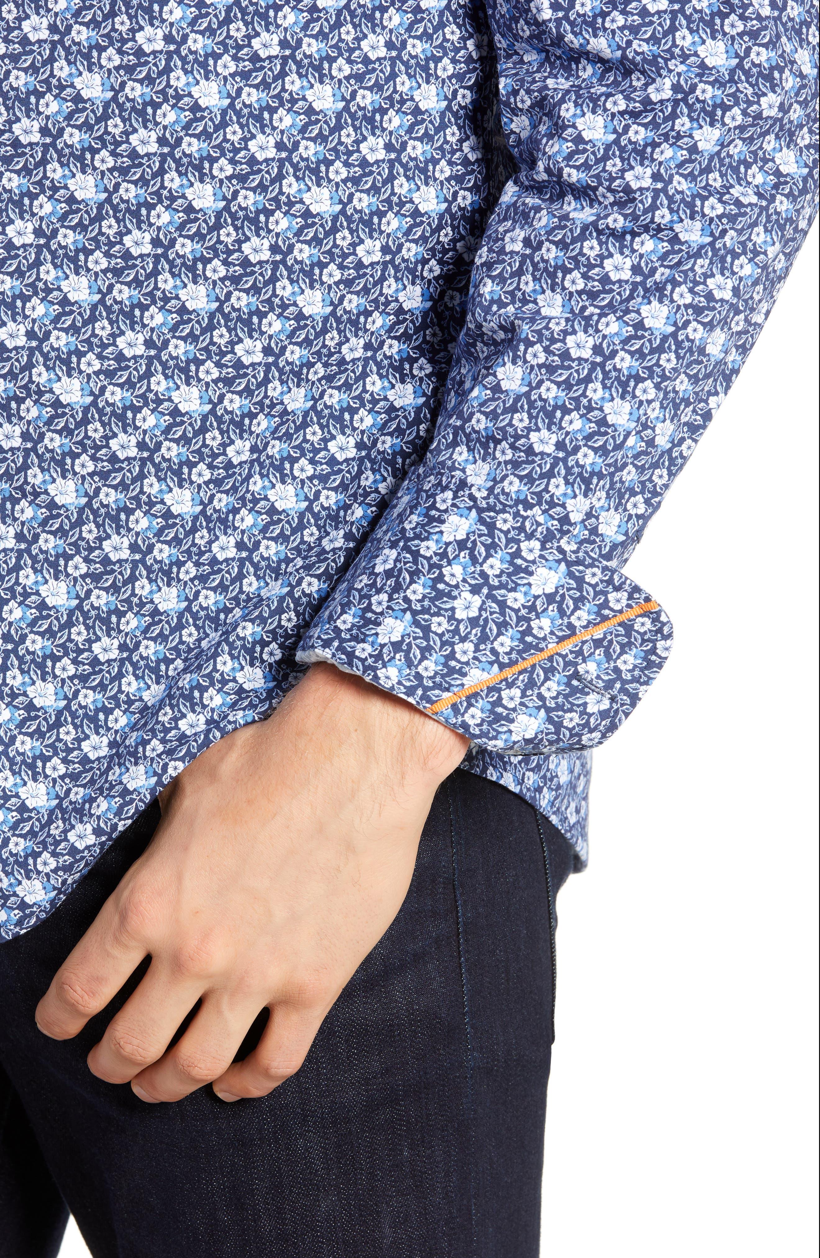 Regular Fit Floral Print Knit Sport Shirt,                             Alternate thumbnail 2, color,                             NAVY