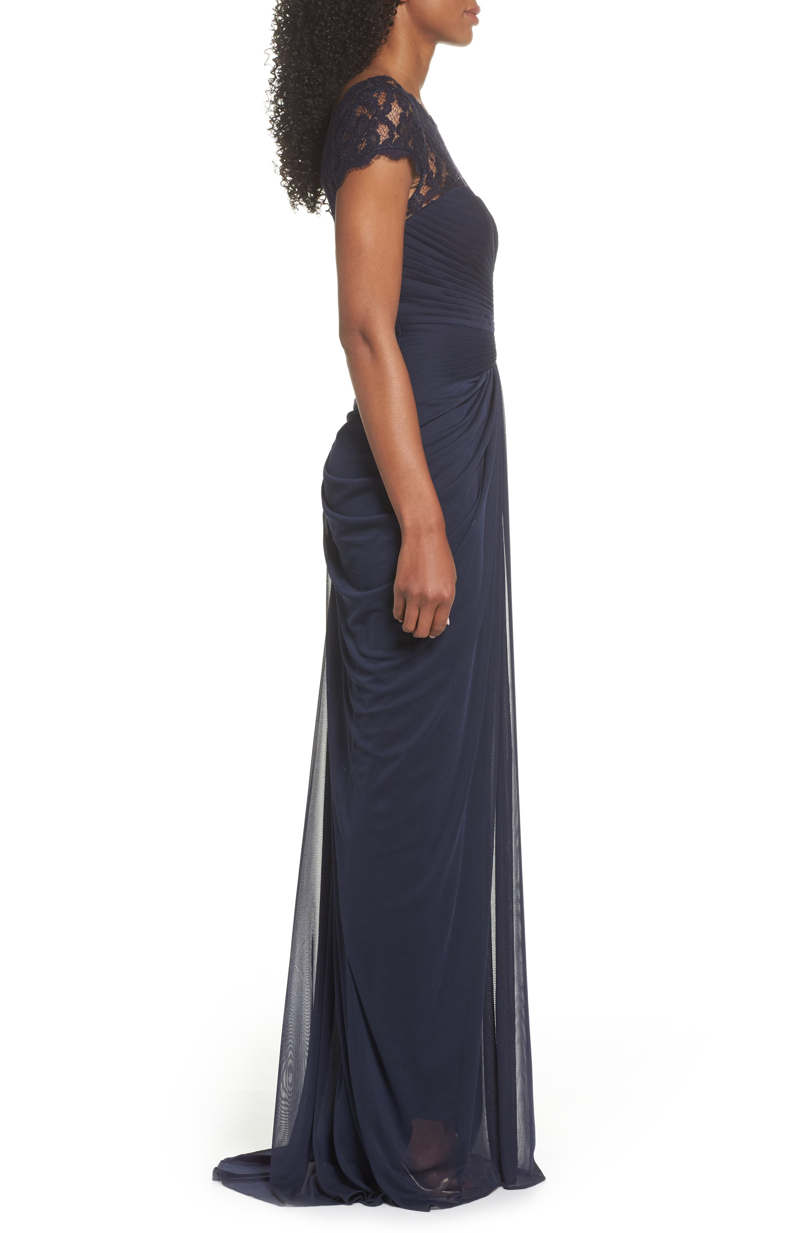 Lace Yoke Drape Gown,                             Alternate thumbnail 8, color,