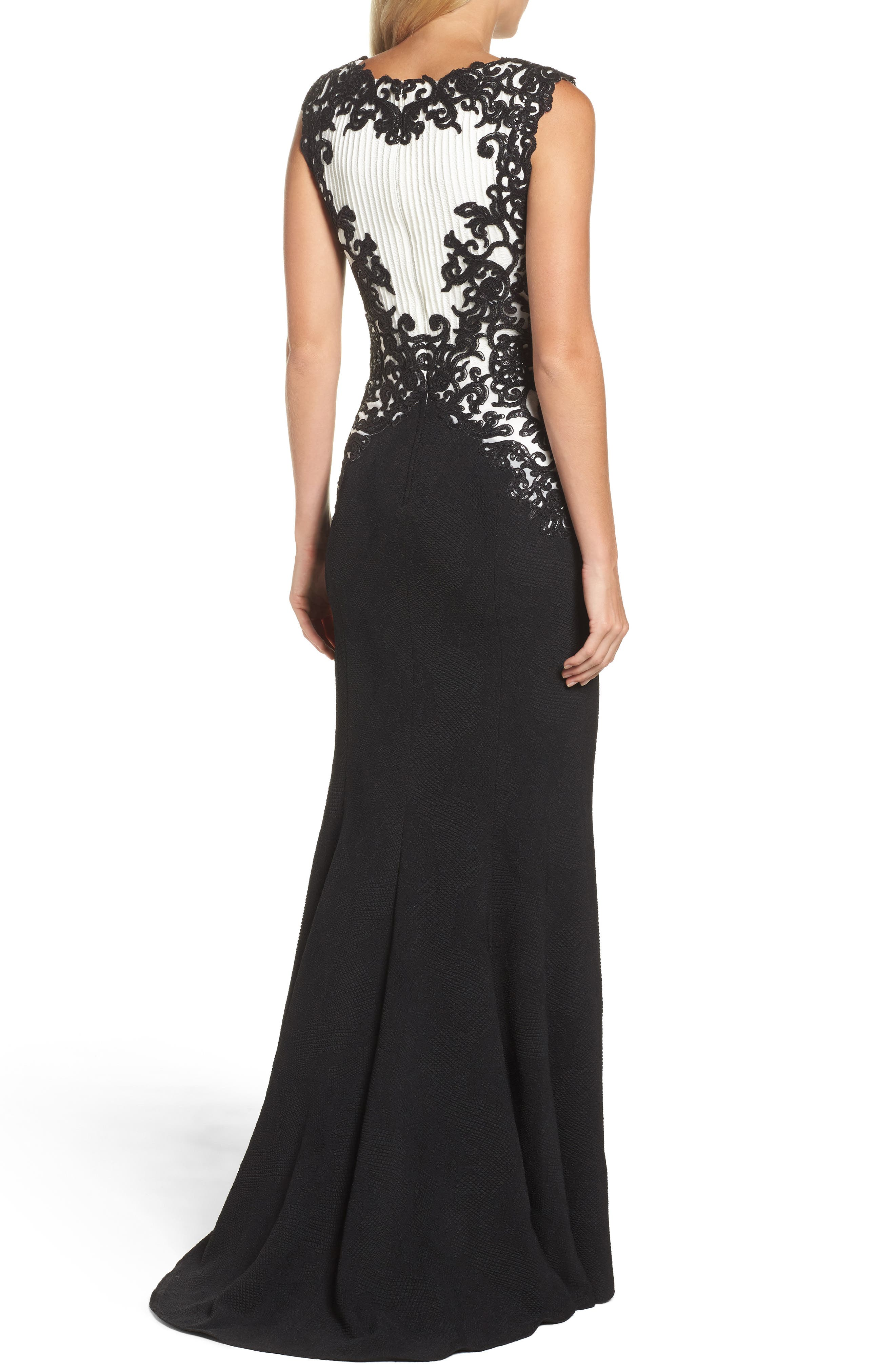 Sequin Embroidered Textured Crepe Gown,                             Alternate thumbnail 2, color,                             002