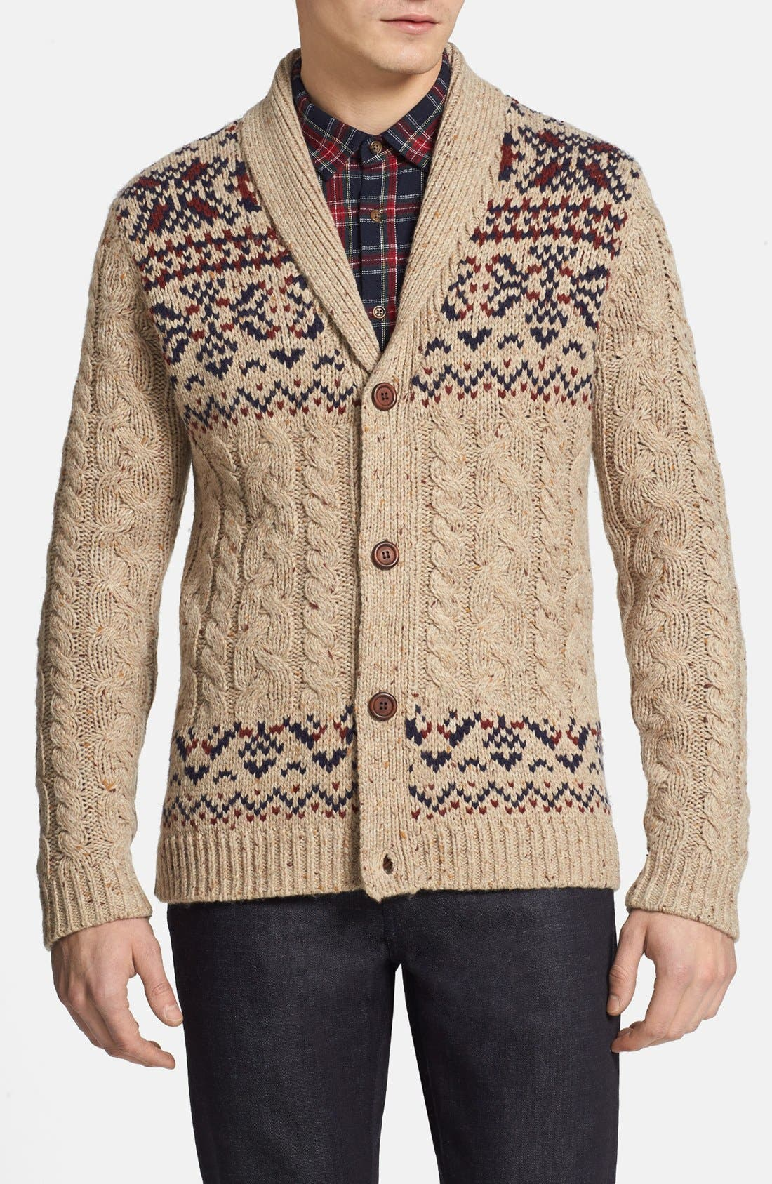 TOPMAN Oatmeal Shawl Collar Cardigan, Main, color, 250