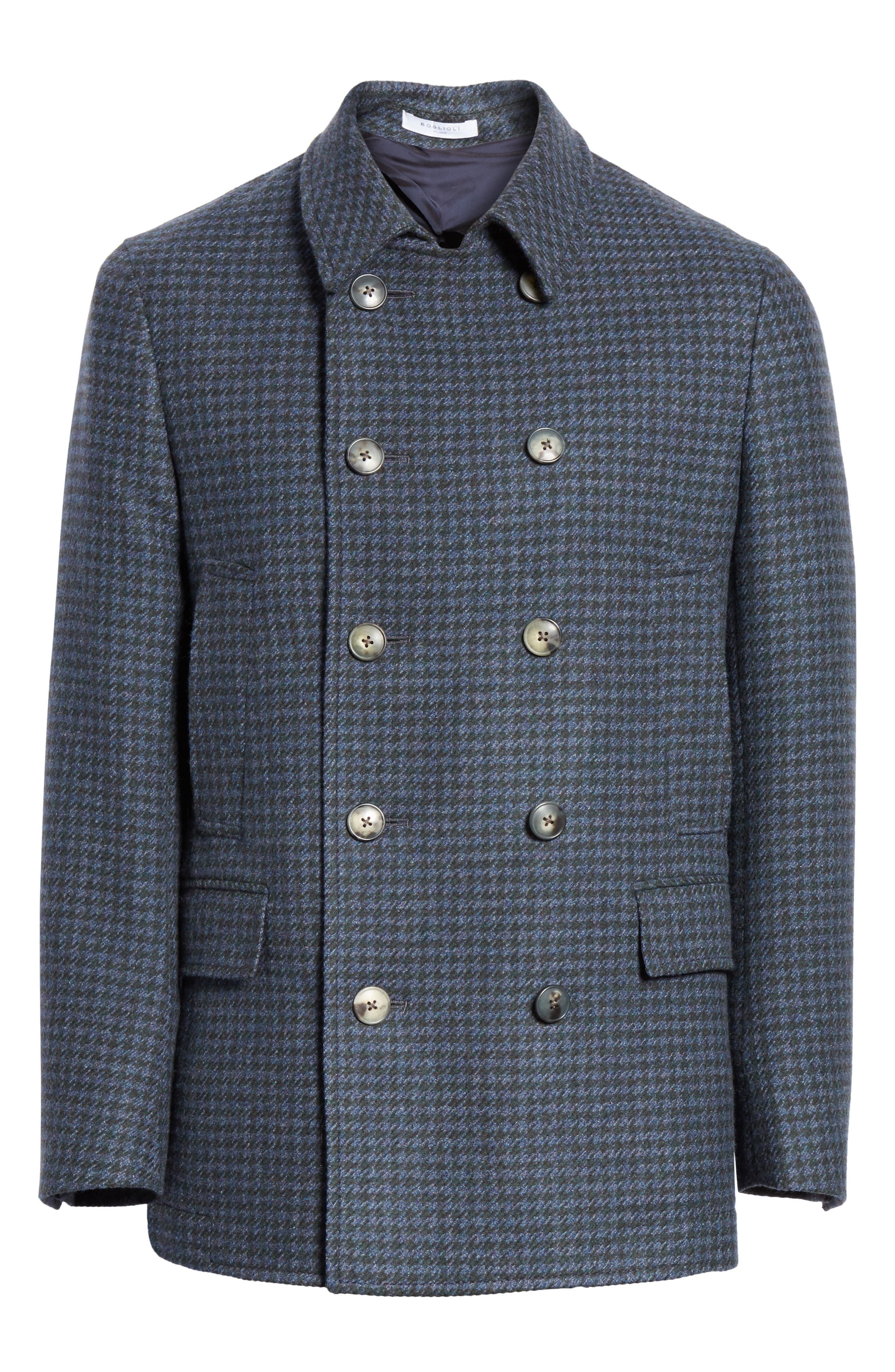 Trim Fit Double Breasted Houndstooth Wool Coat,                             Alternate thumbnail 5, color,                             GREEN/ BLUE