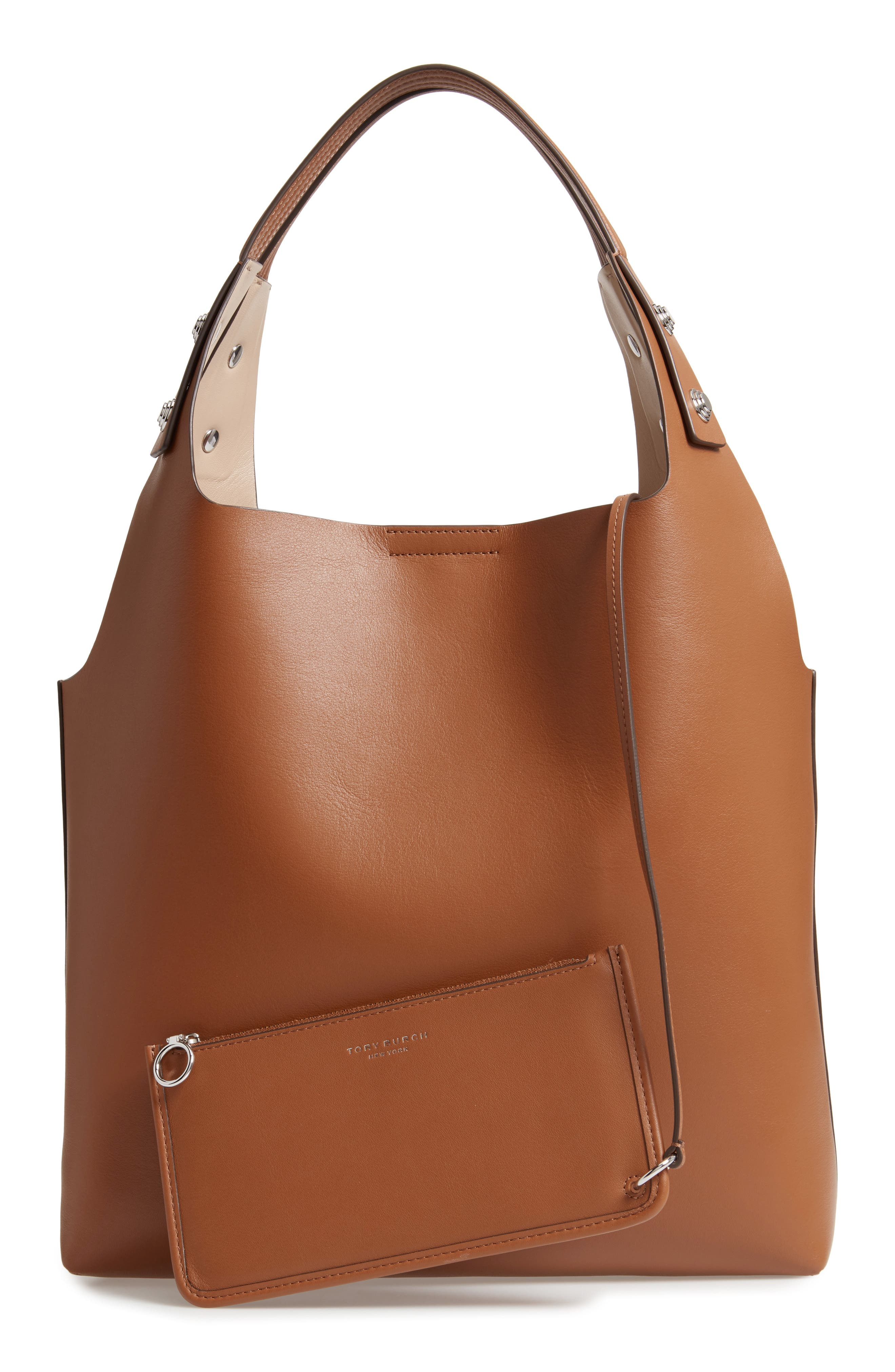 Rory Leather Tote,                             Alternate thumbnail 3, color,                             LIGHT UMBER