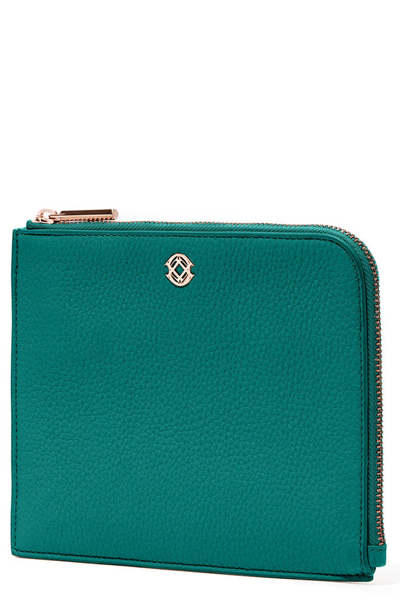 Small Elle Leather Clutch,                             Main thumbnail 4, color,