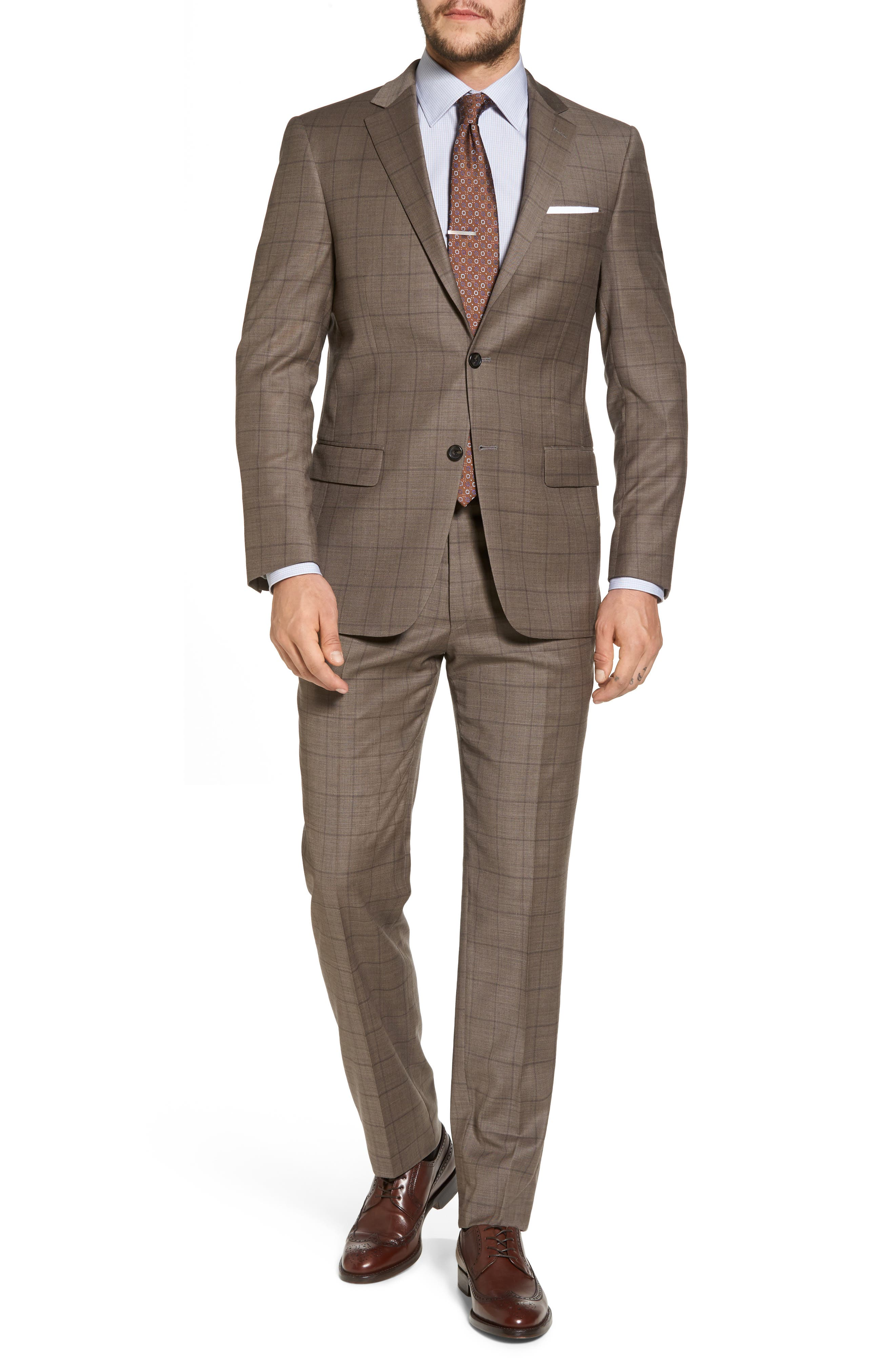 New York Classic Fit Stretch Windowpane Wool Suit,                         Main,                         color, 210