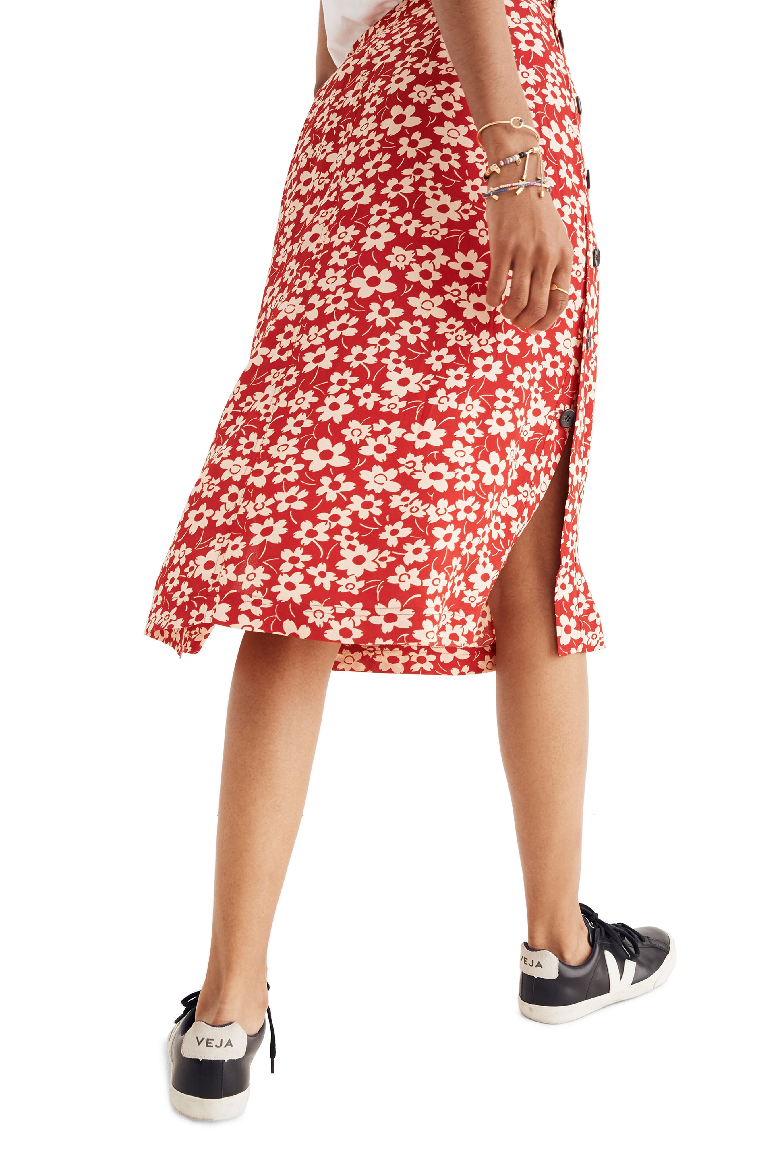 Side Button Skirt,                             Alternate thumbnail 2, color,                             CRANBERRY