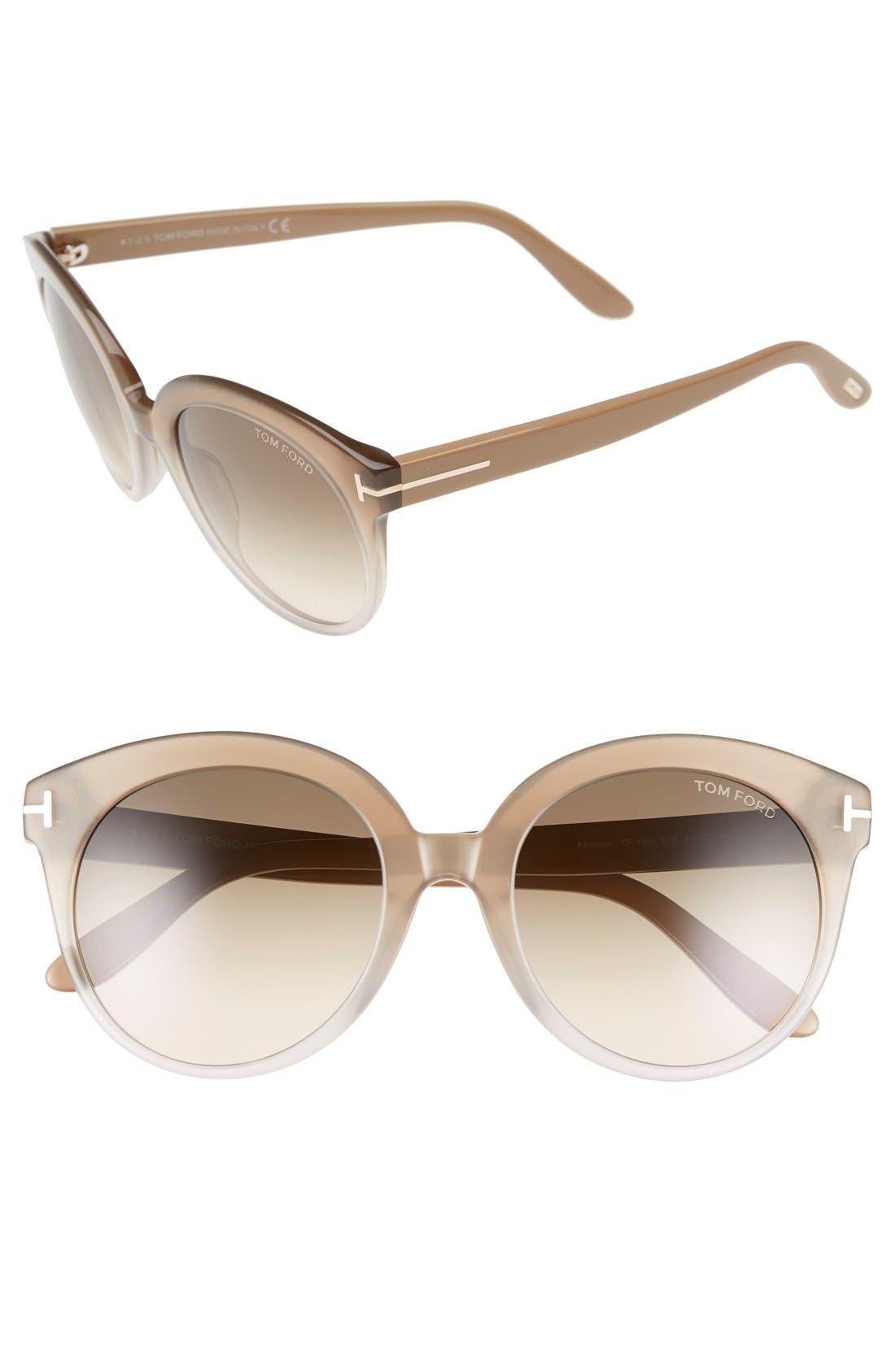 'Monica' 54mm Retro Sunglasses,                         Main,                         color, BEIGE/ GRADIENT SMOKE