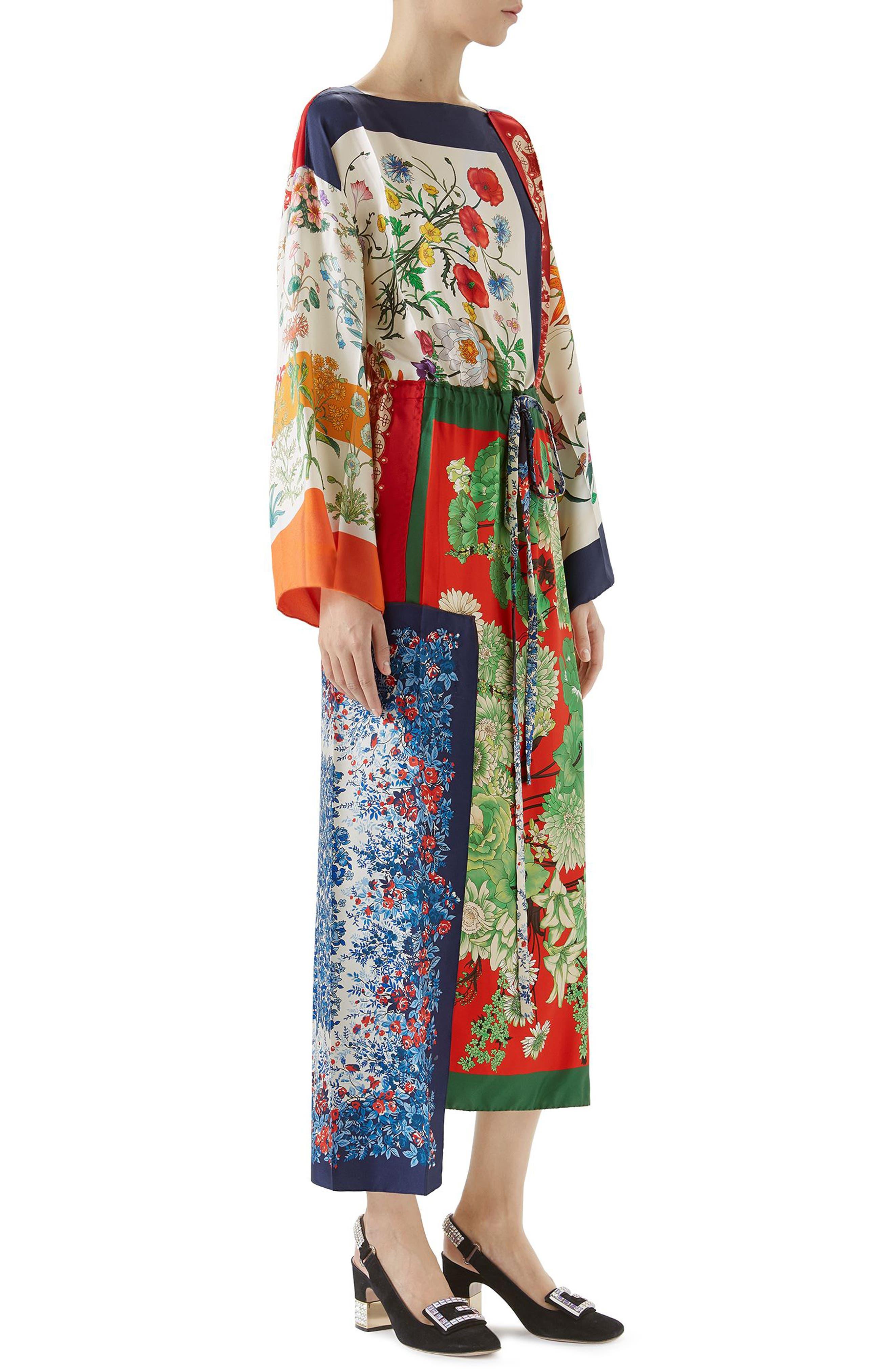 Patchwork Print Asymmetrical Silk Dress,                             Alternate thumbnail 2, color,                             412