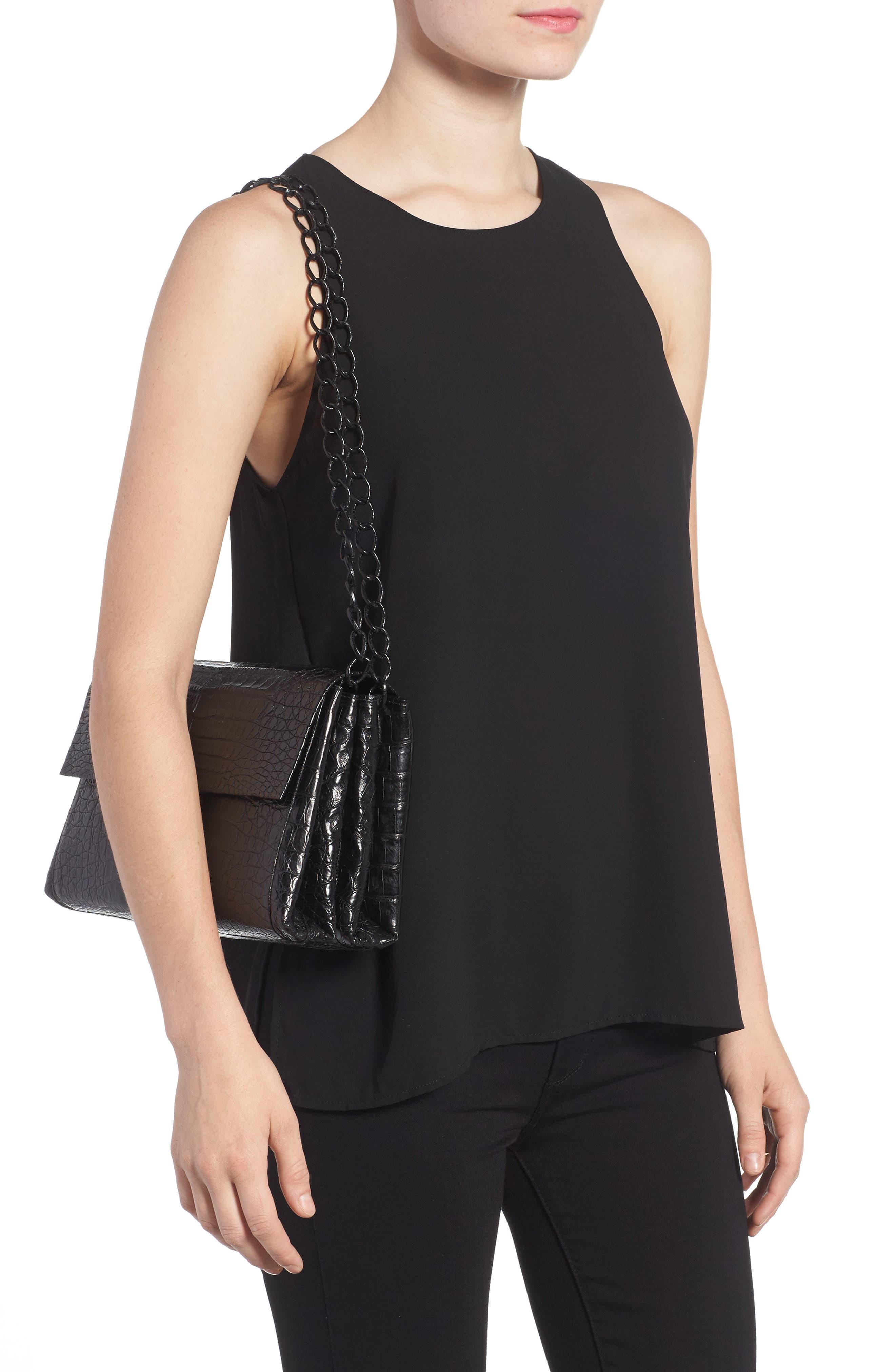 Genuine Crocodile Shoulder Bag,                             Alternate thumbnail 2, color,                             BLACK MATTE