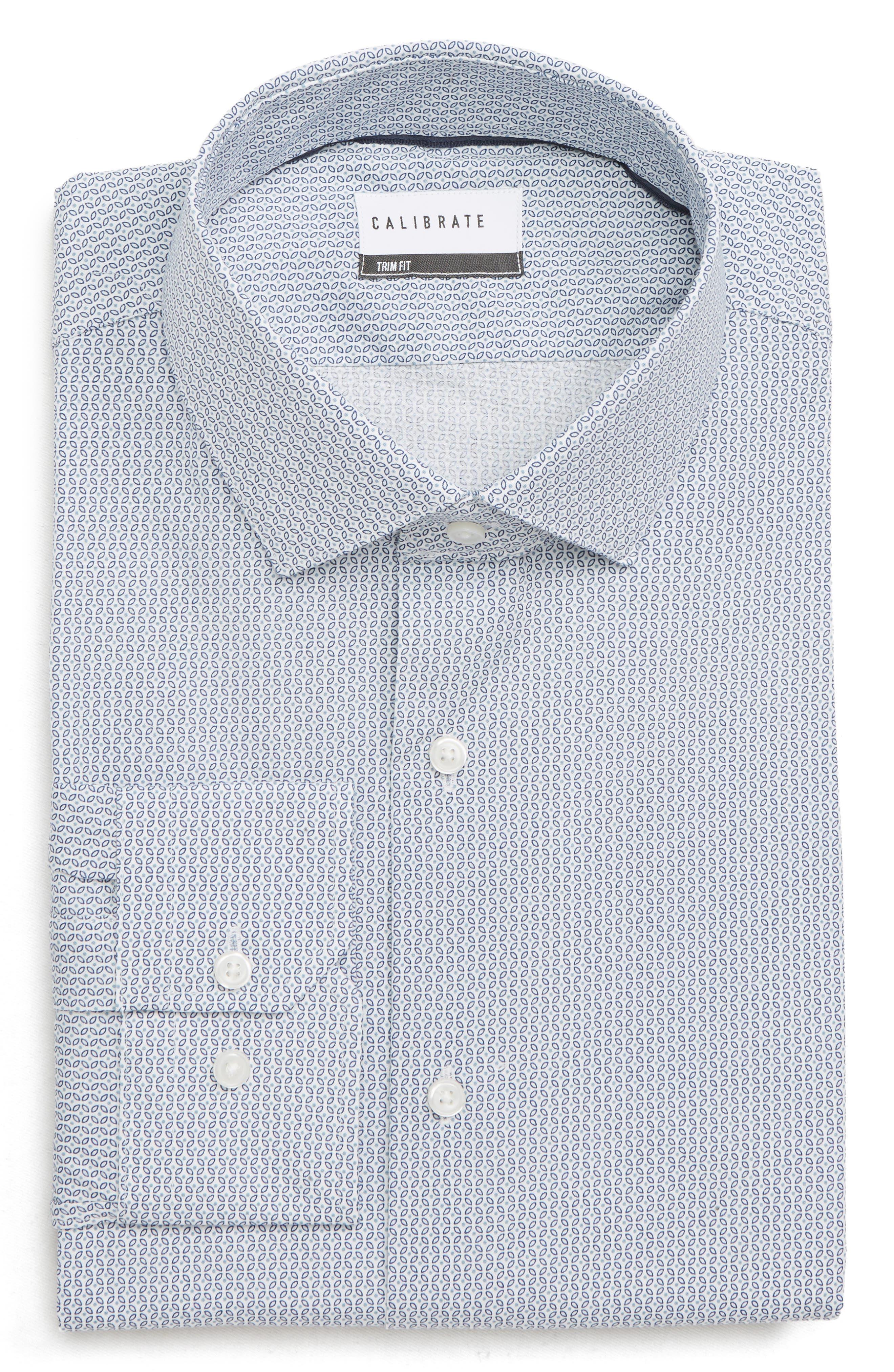Trim Fit Geometric Print Dress Shirt,                             Alternate thumbnail 5, color,                             BLUE CHAMBRAY
