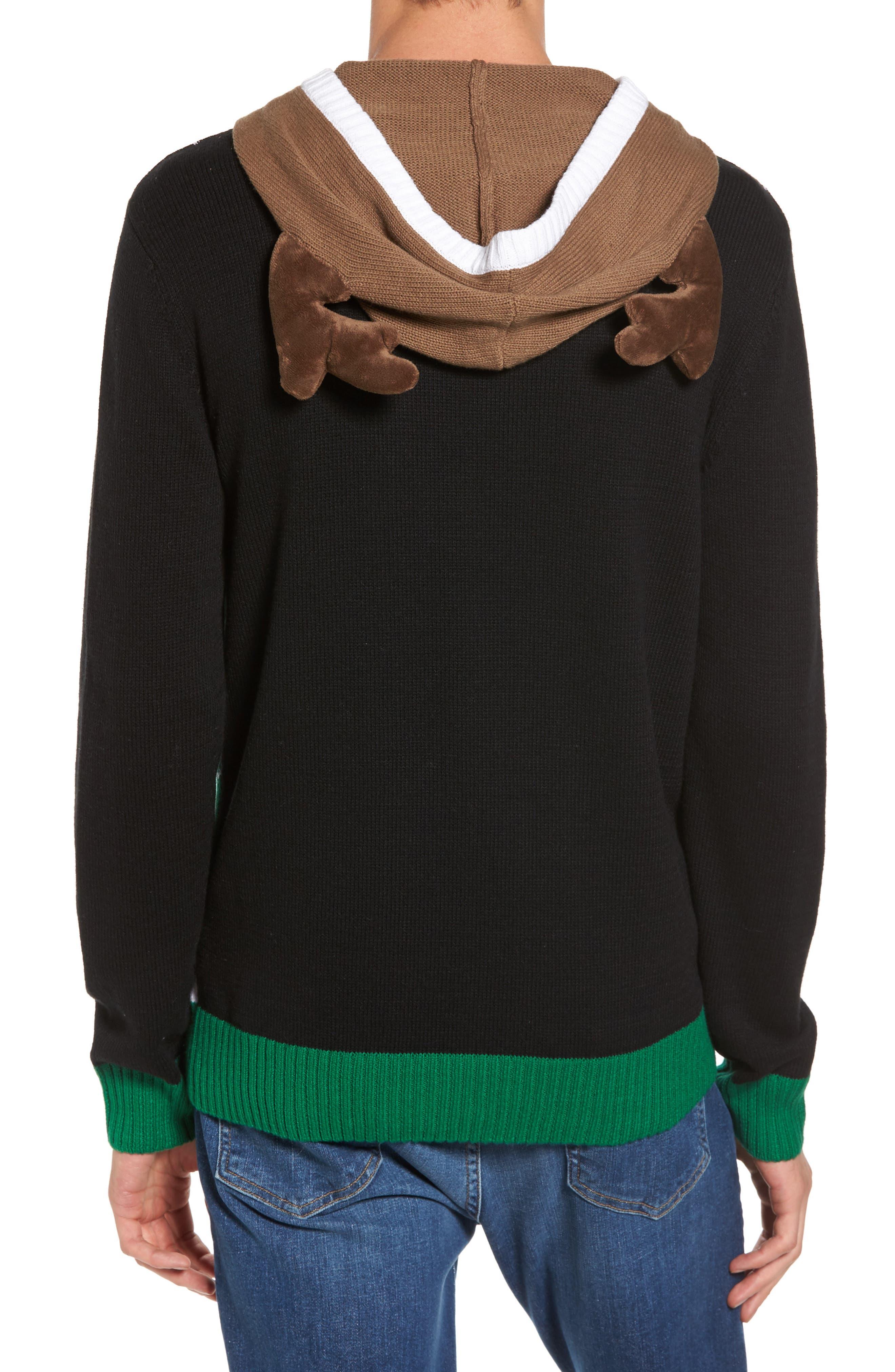 Reindeer Hooded Sweater,                             Alternate thumbnail 2, color,                             001