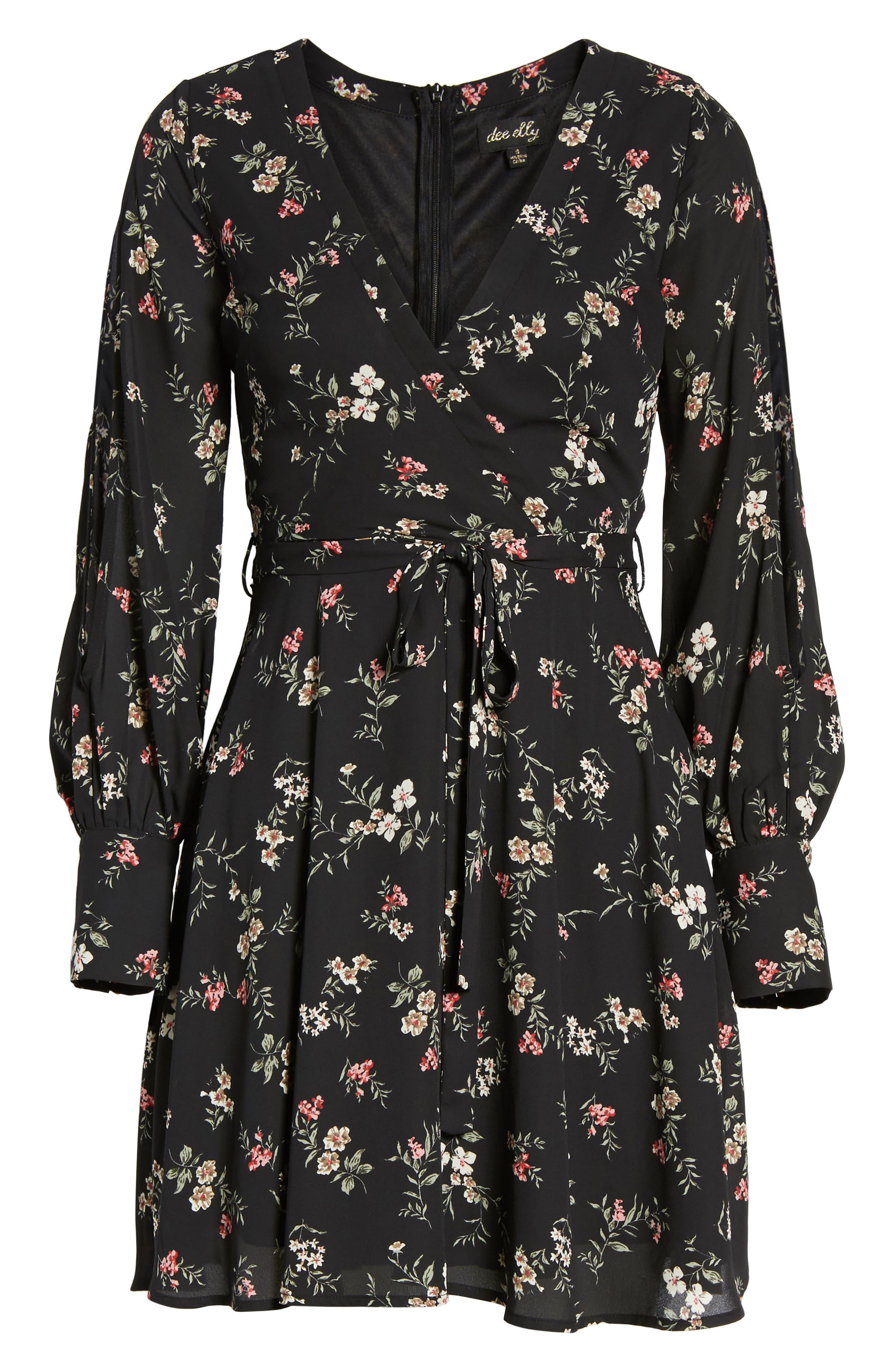 Cold Shoulder Wrap Style Dress,                             Alternate thumbnail 6, color,                             001