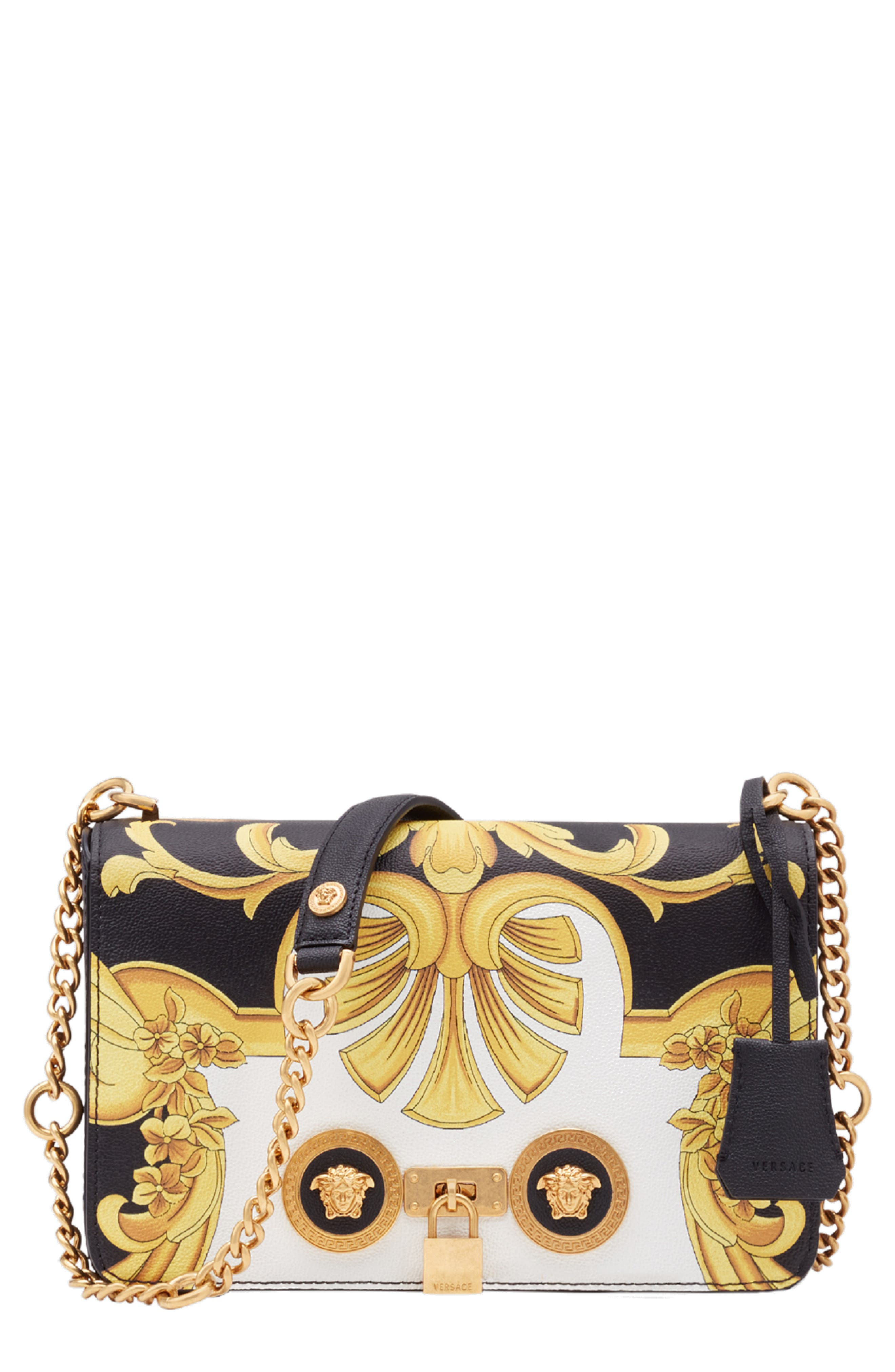 Versace Baroque Print Medium Icon Leather Crossbody Bag,                             Main thumbnail 1, color,                             NERO MULTI