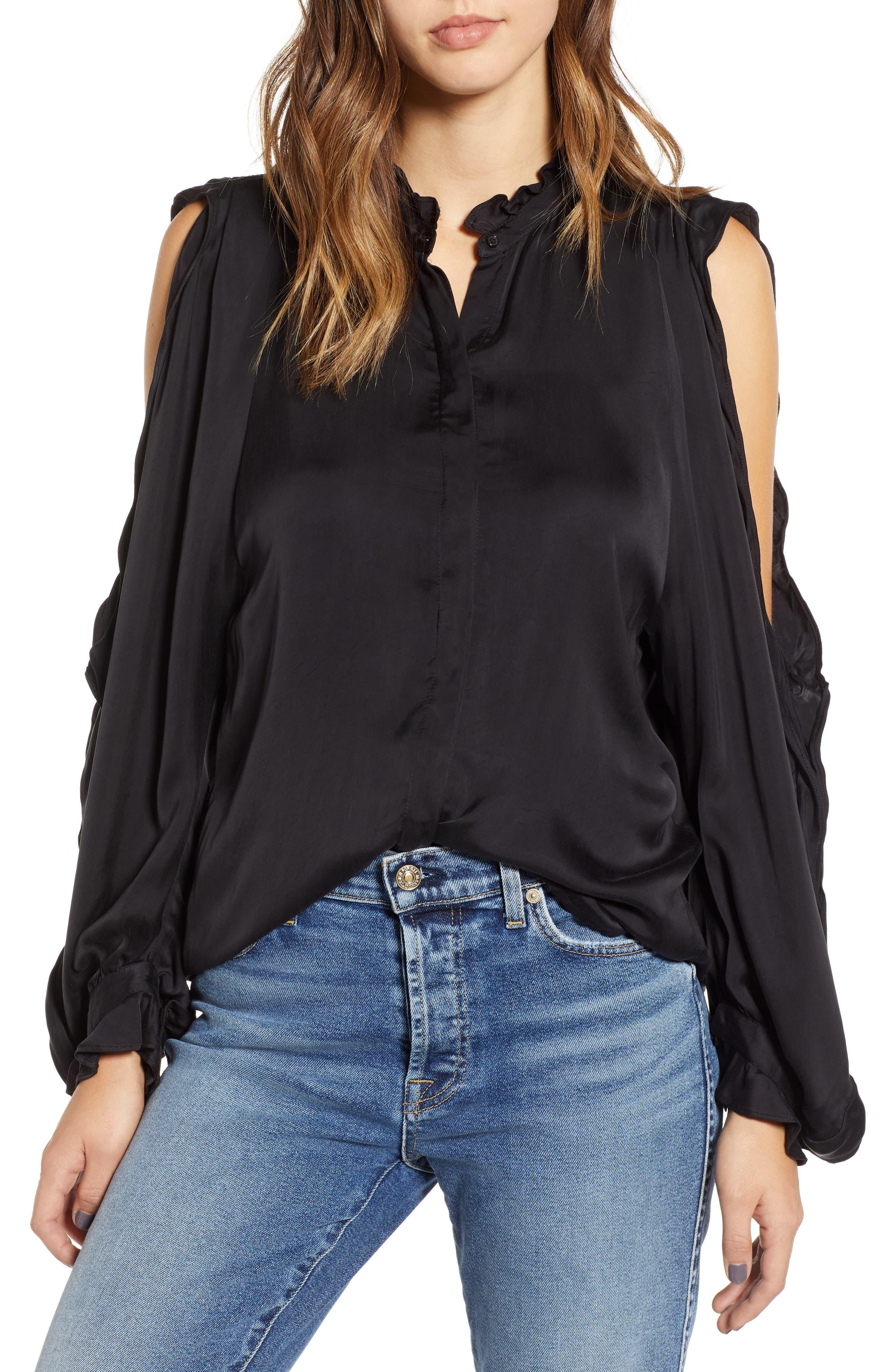Ruffle Cold Shoulder Shirt,                             Main thumbnail 1, color,                             004