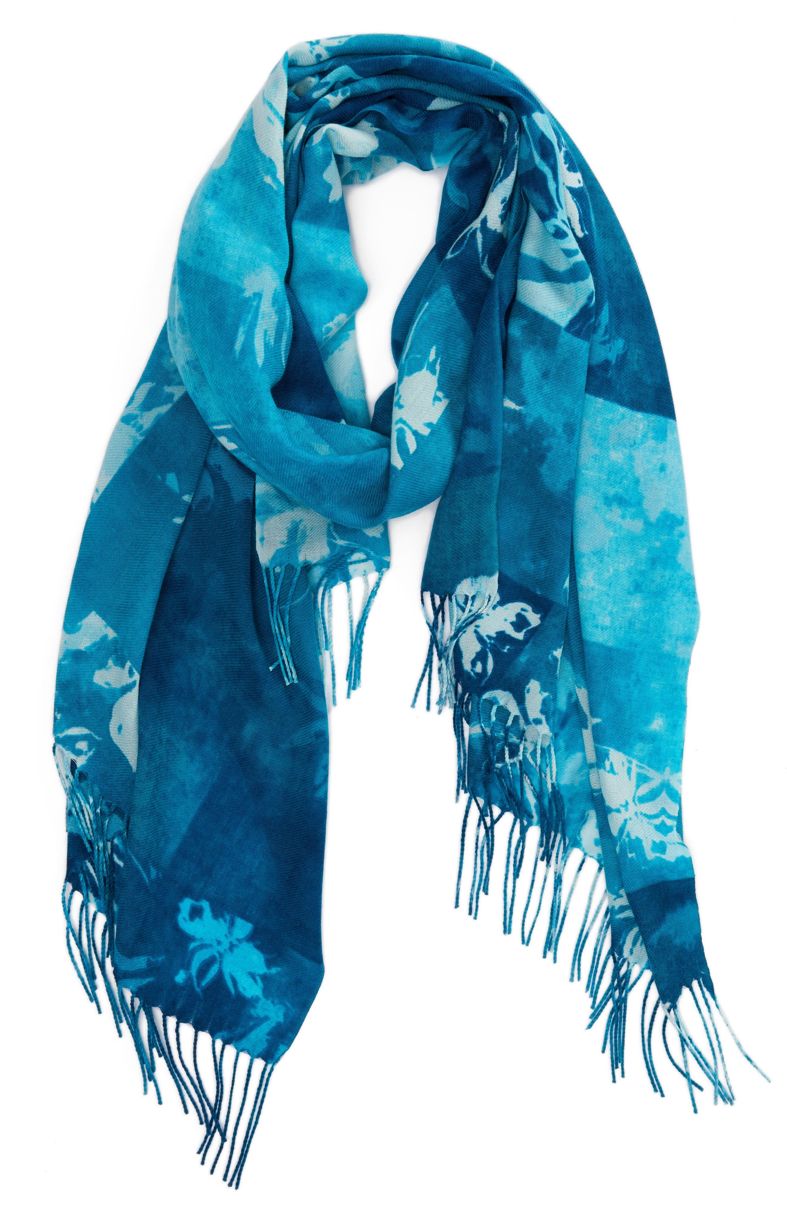 Solar Patchwork Tissue Wool & Cashmere Scarf,                             Alternate thumbnail 5, color,