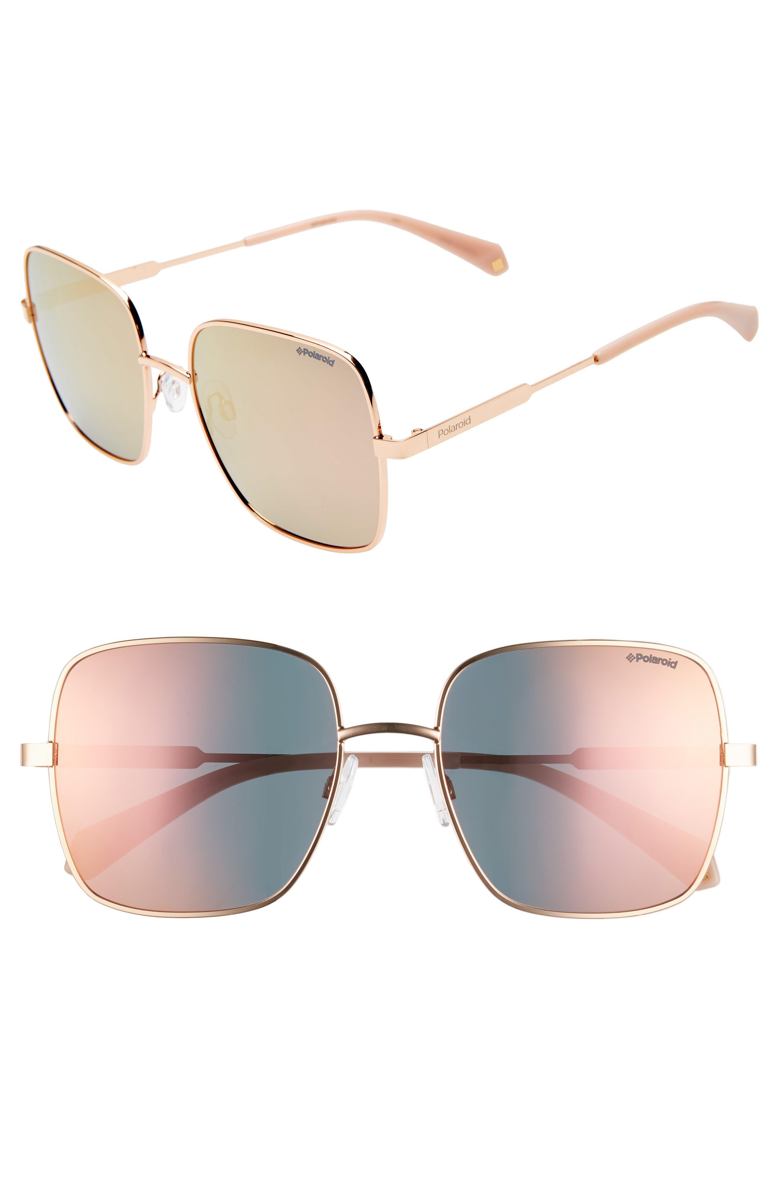 Polaroid 57Mm Polarized Square Sunglasses - Gold/ Pink