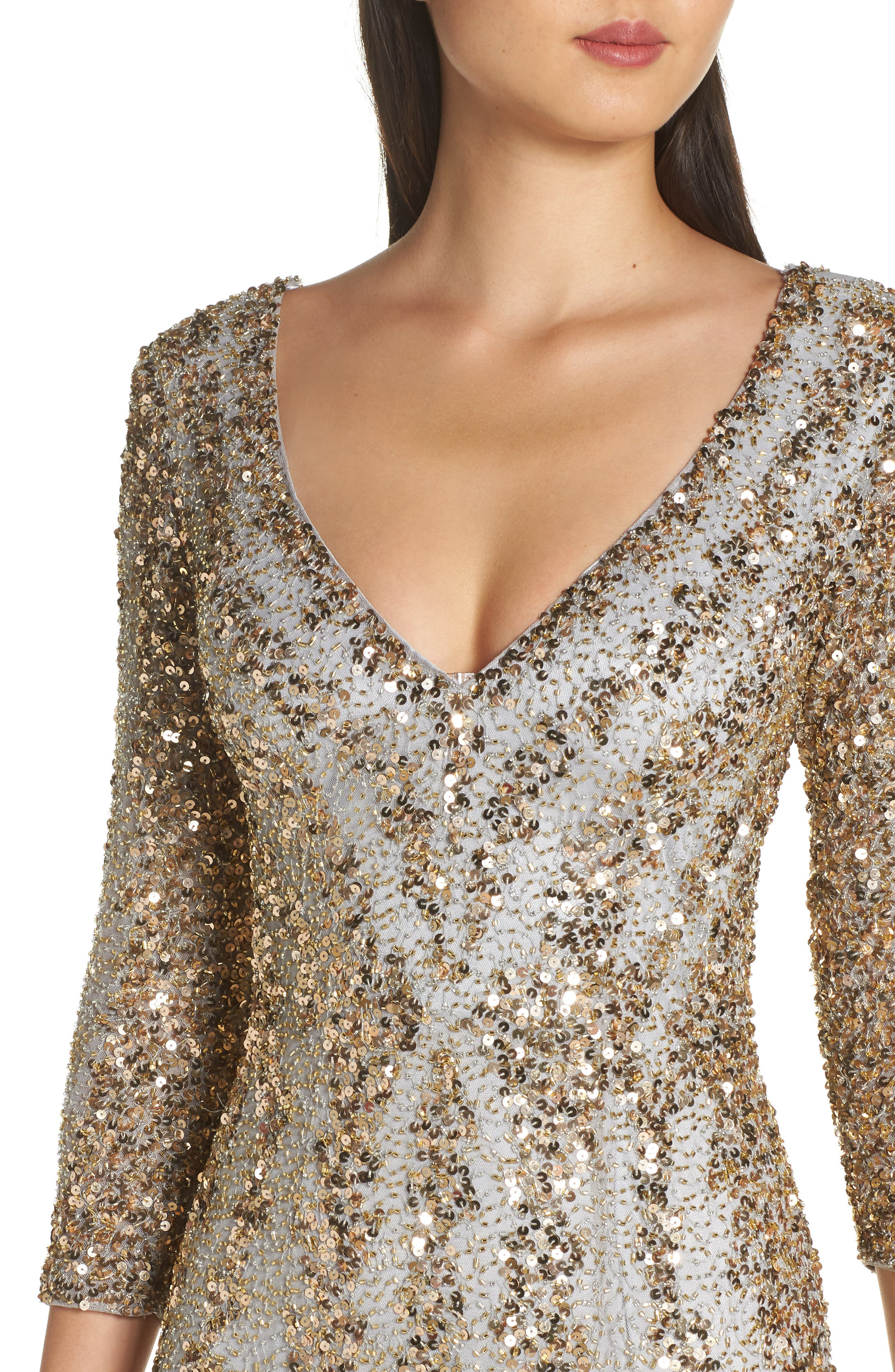 Sequin Gown,                             Alternate thumbnail 4, color,                             NUDE/ PLATINUM