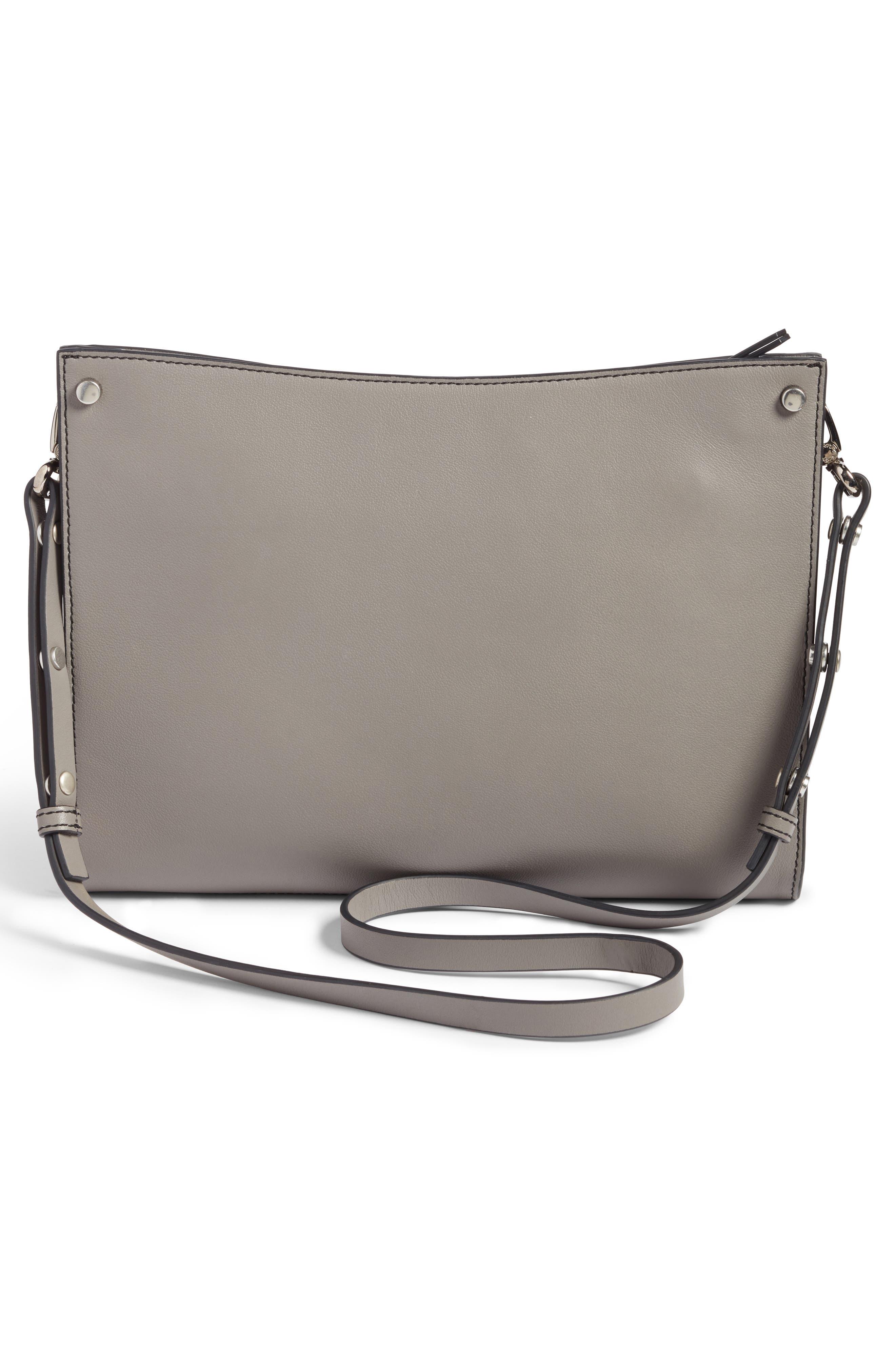 Harrison Leather Shoulder Bag,                             Alternate thumbnail 3, color,                             001