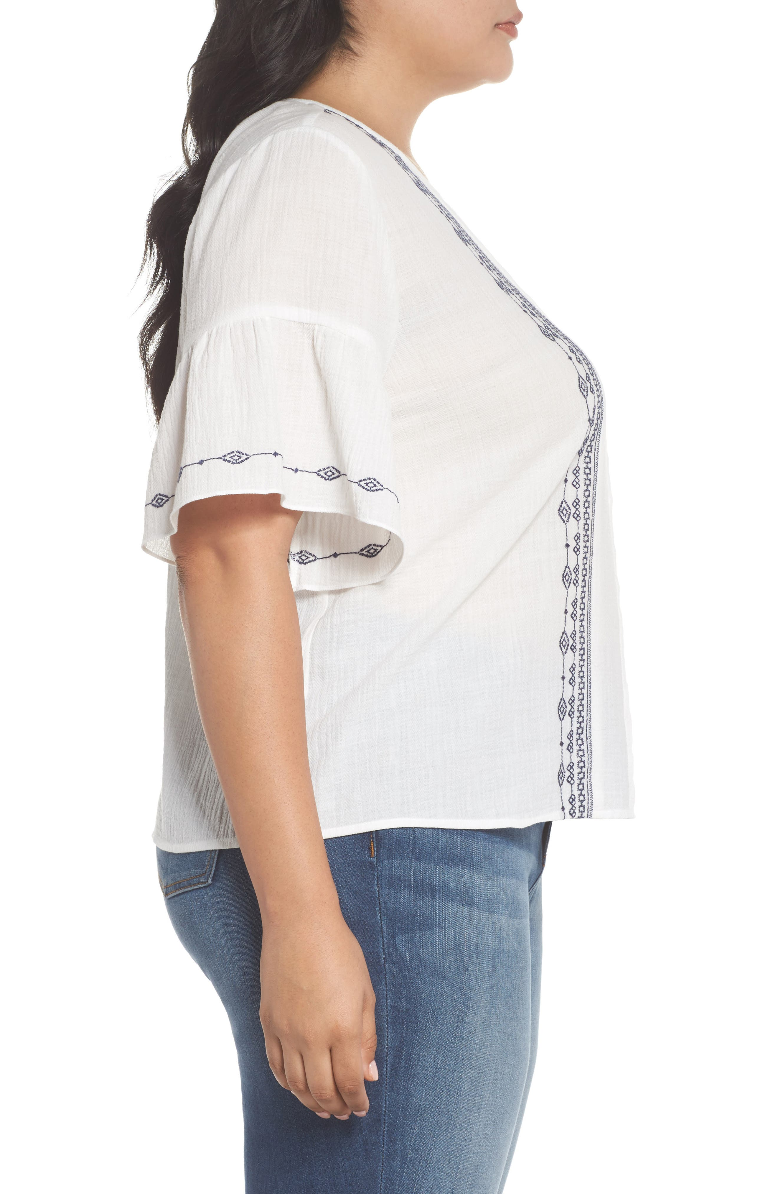 Ruffle Sleeve Embroidered Crinkle Cotton Top,                             Alternate thumbnail 3, color,                             ULTRA WHIT