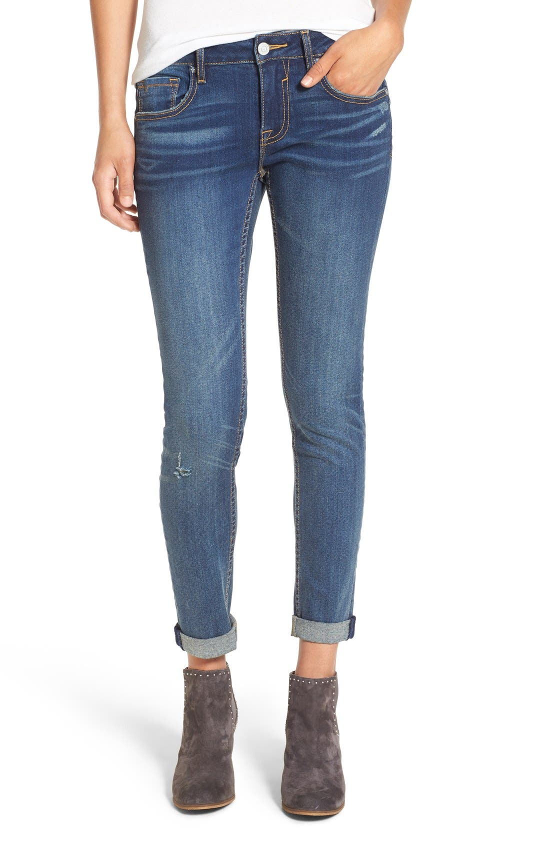 'Thompson' Distressed Skinny Jeans,                             Main thumbnail 1, color,