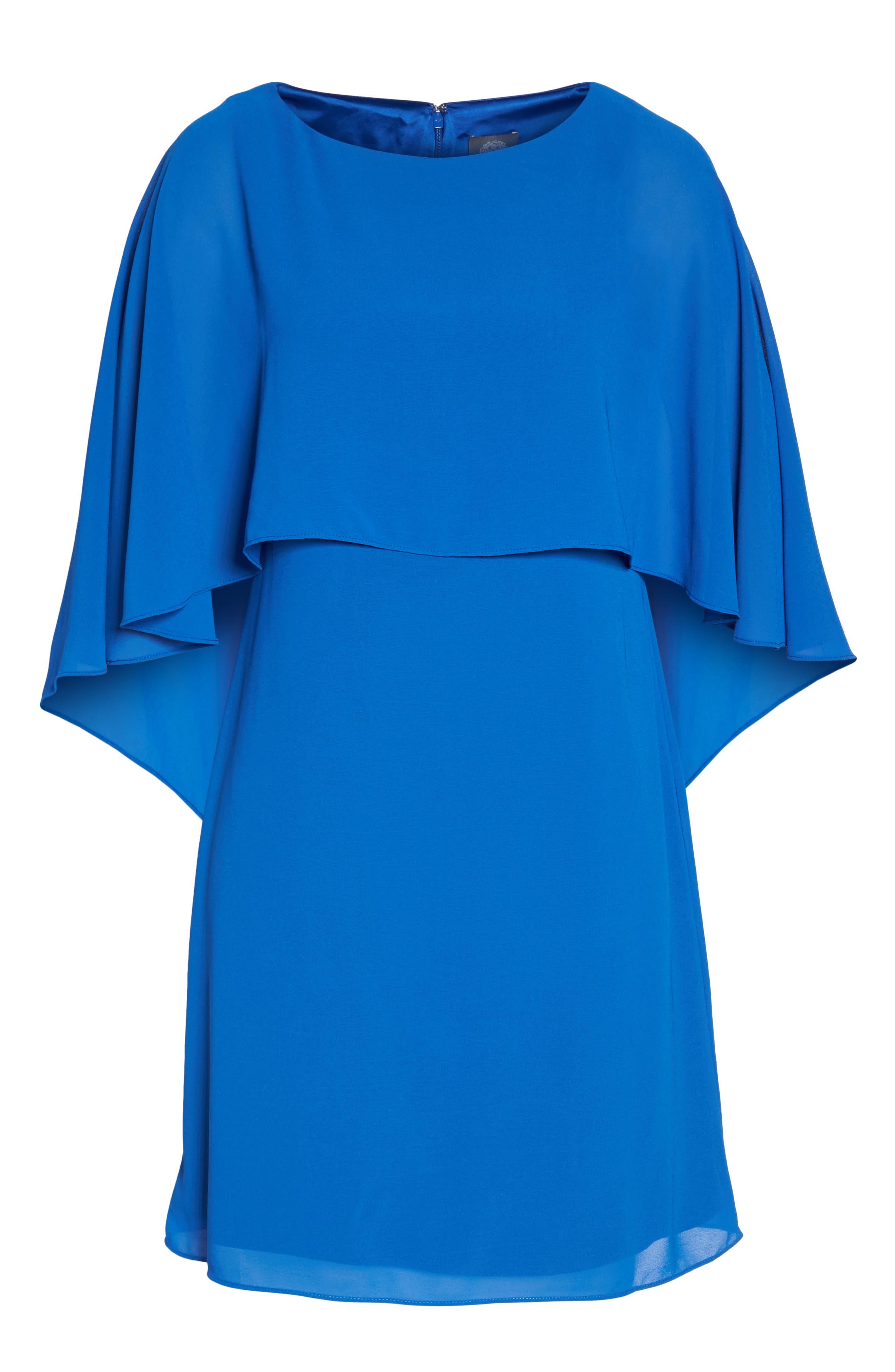 Cape Overlay Dress,                             Alternate thumbnail 7, color,                             ROYAL
