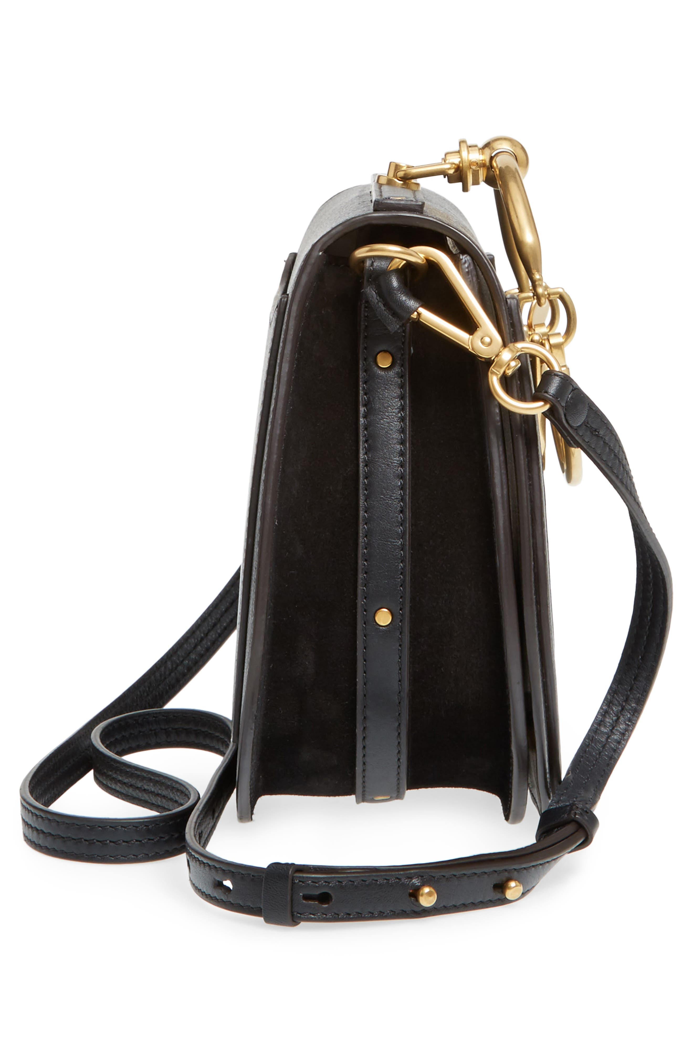 Medium Nile Leather Bracelet Saddle Bag,                             Alternate thumbnail 6, color,                             001NR001 BLACK