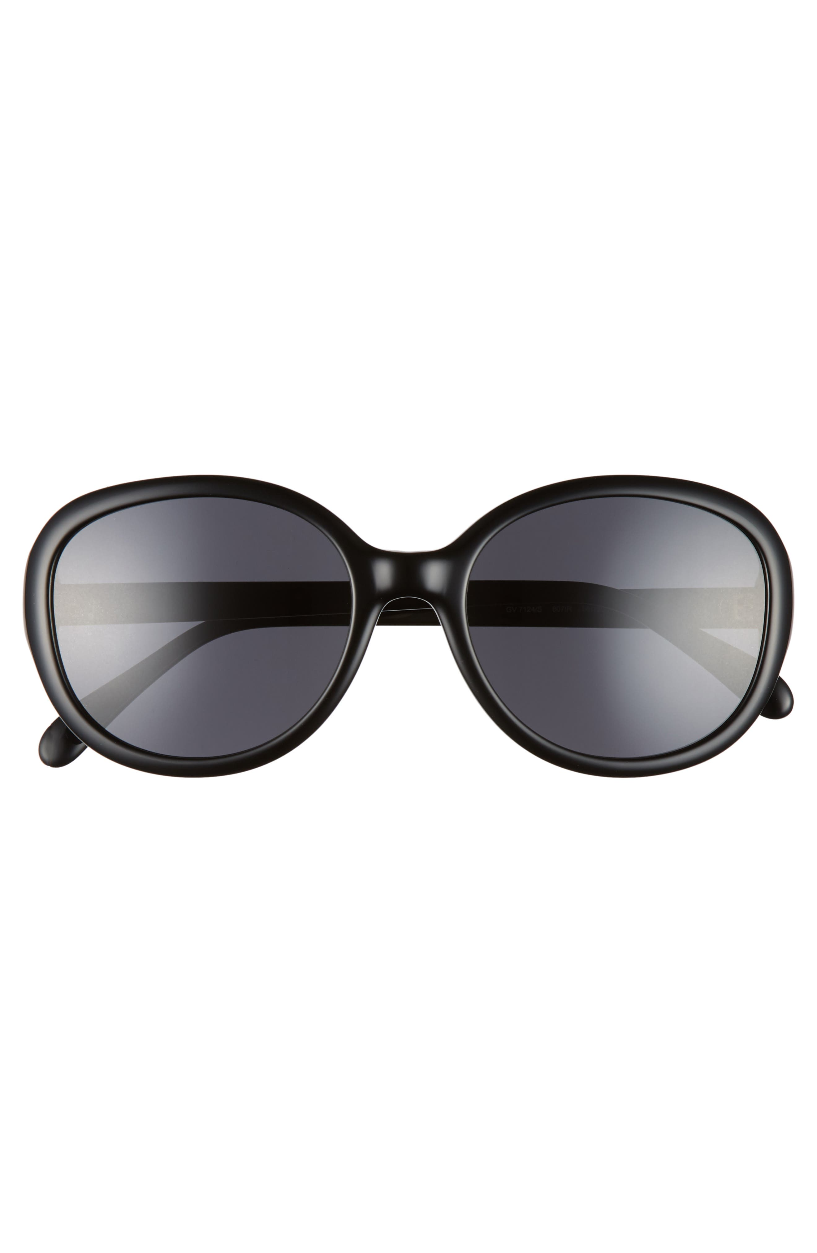 56mm Round Sunglasses,                             Alternate thumbnail 3, color,                             BLACK
