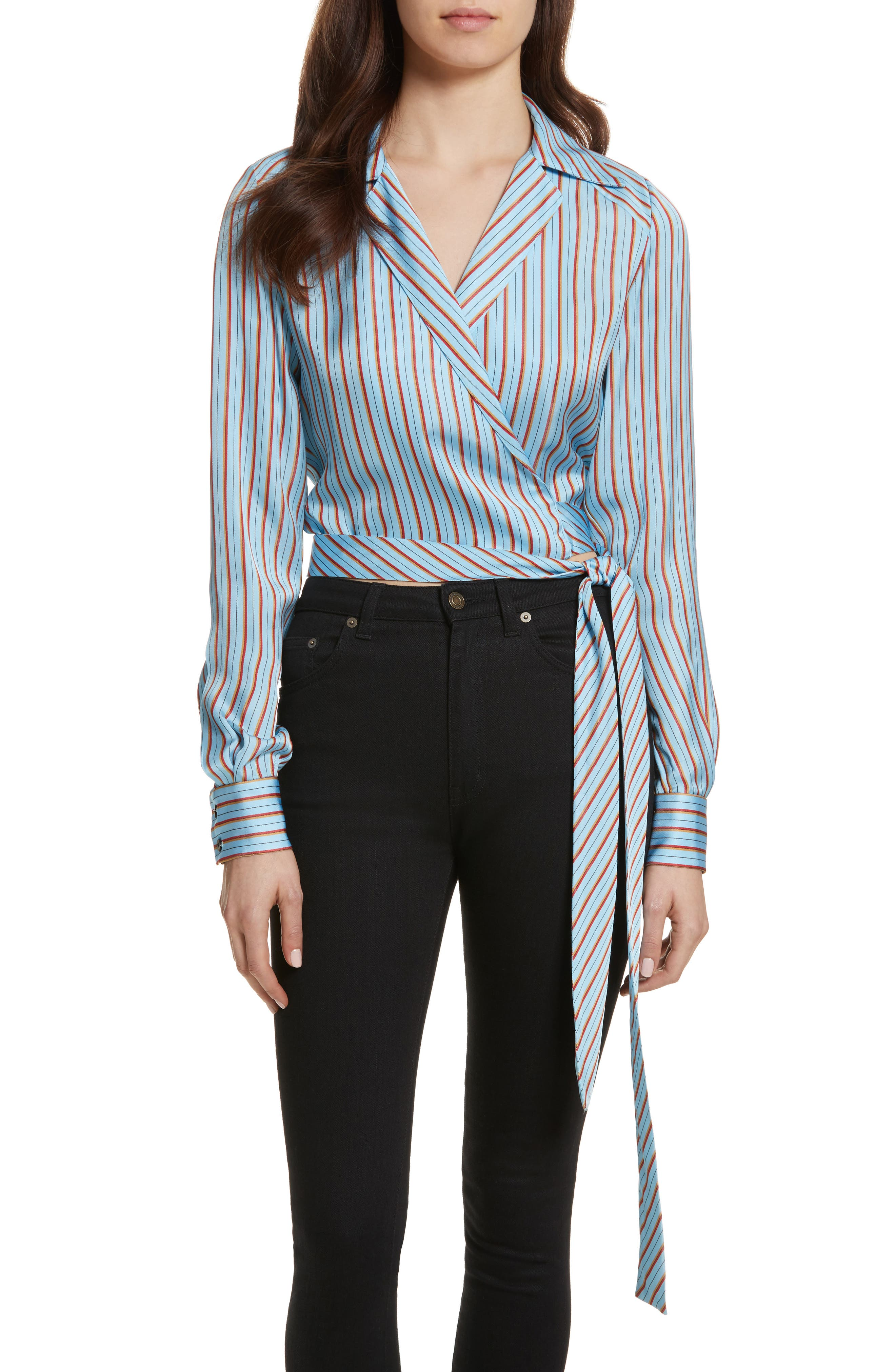 Diane von Furstenberg Stripe Wrap Top,                         Main,                         color, 477