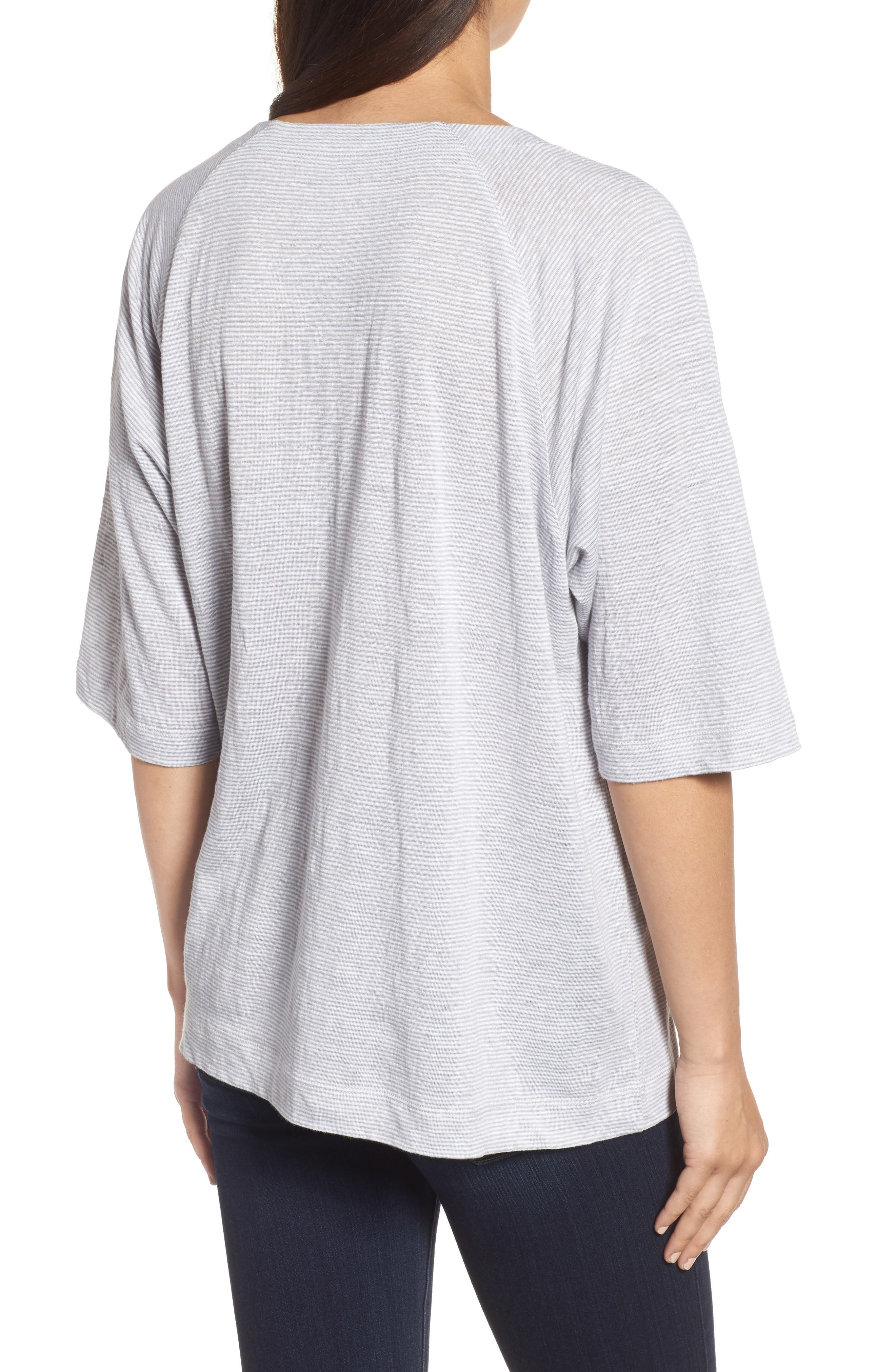 Organic Linen V-Neck Box Tee,                             Alternate thumbnail 2, color,                             022