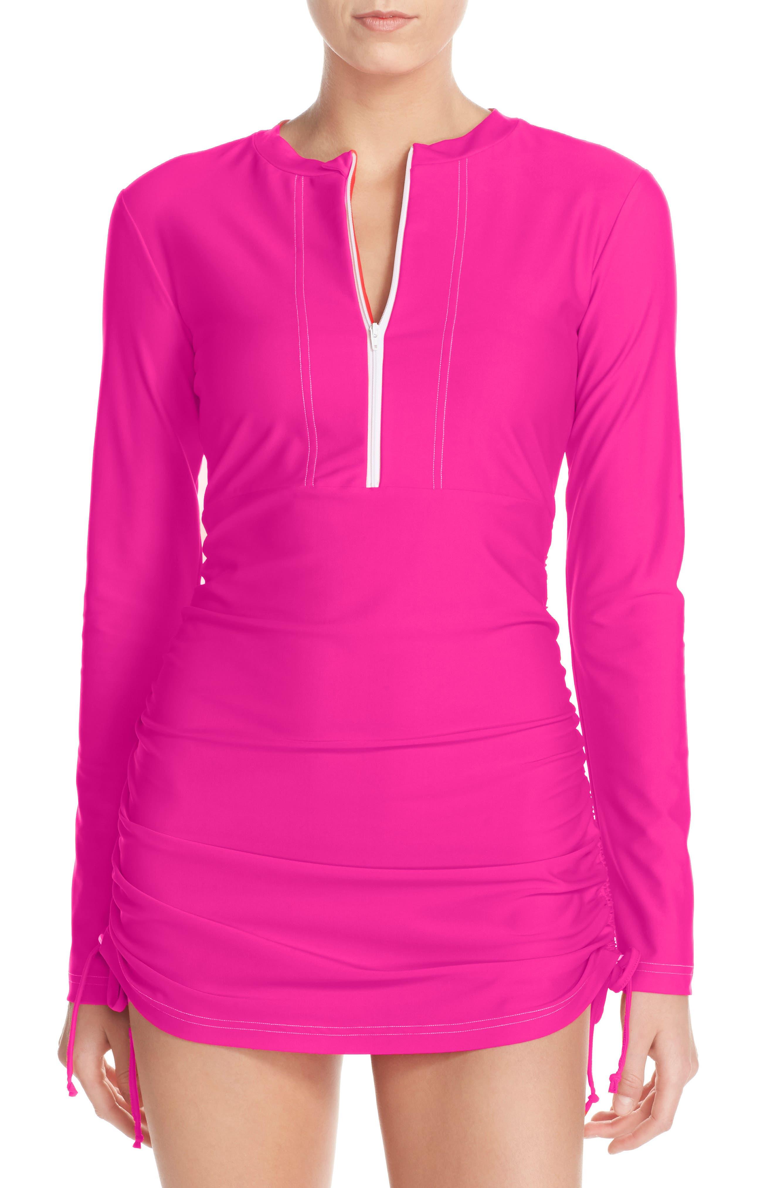 'Sonja' Long Sleeve Half Zip Convertible Swimdress,                             Alternate thumbnail 21, color,