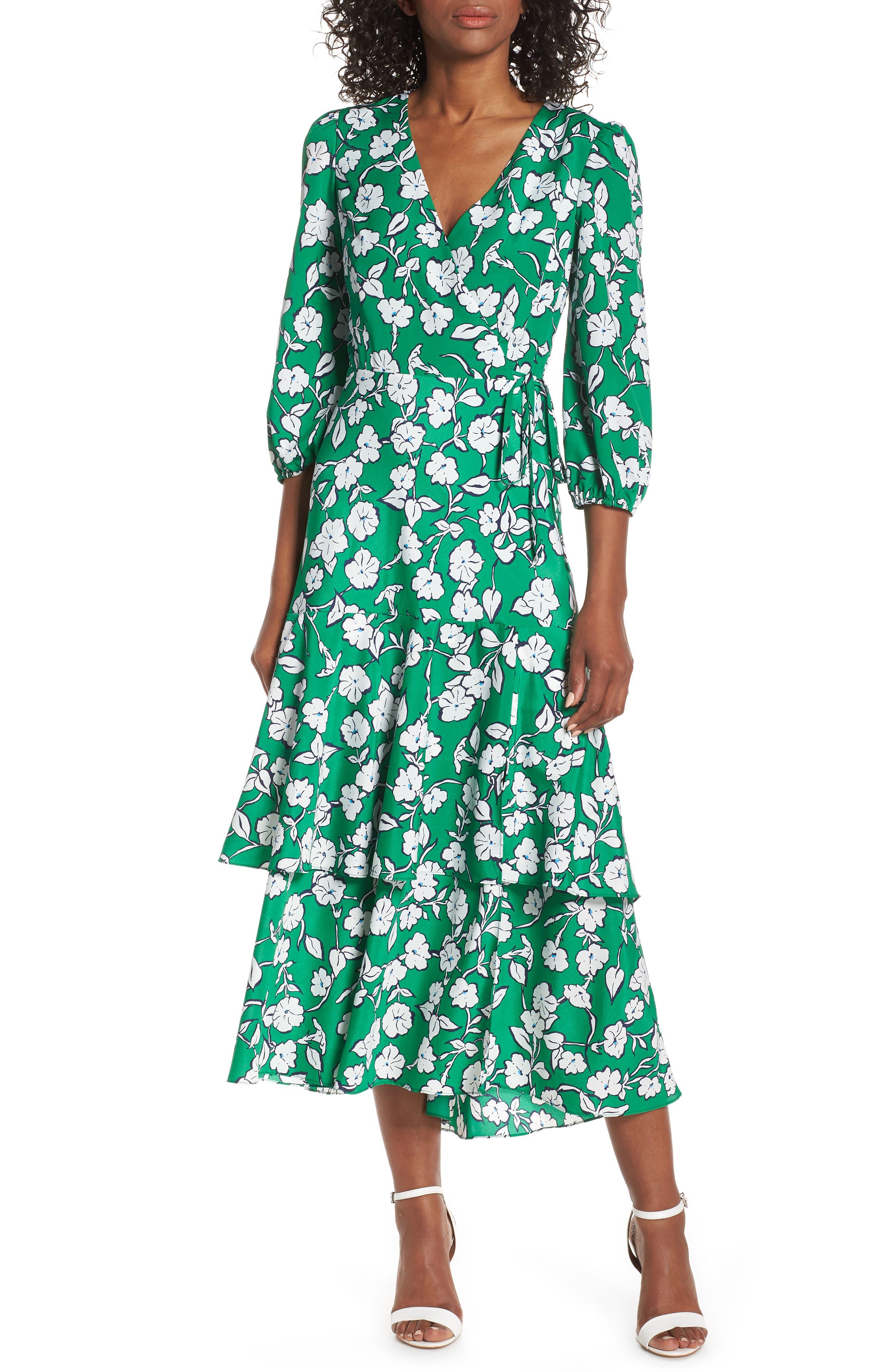 Eliza J Asymmetrical Faux Wrap Maxi Dress, Green