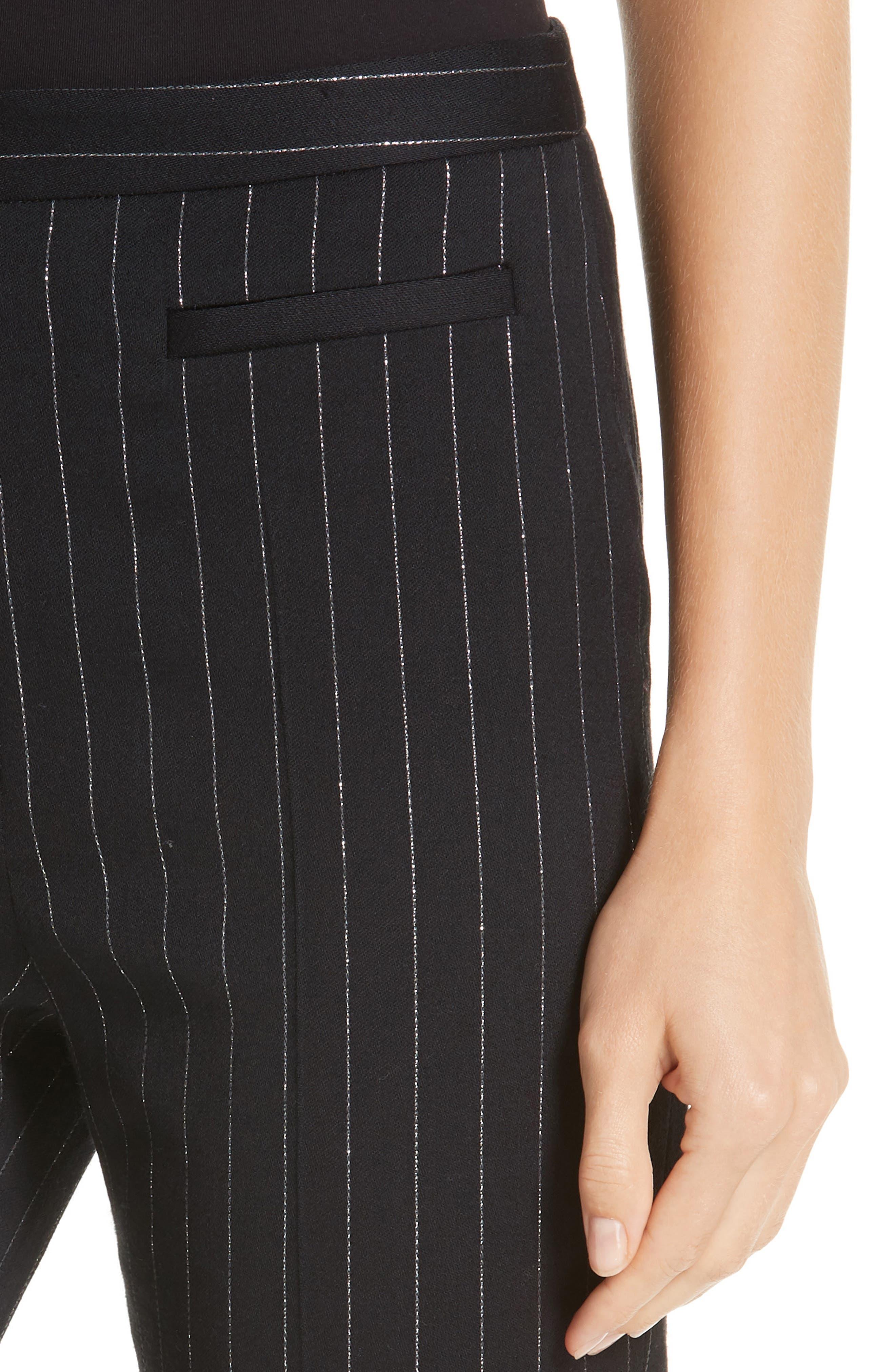 Metallic Pinstripe High Waist Skinny Wool Pants,                             Alternate thumbnail 4, color,                             BLACK