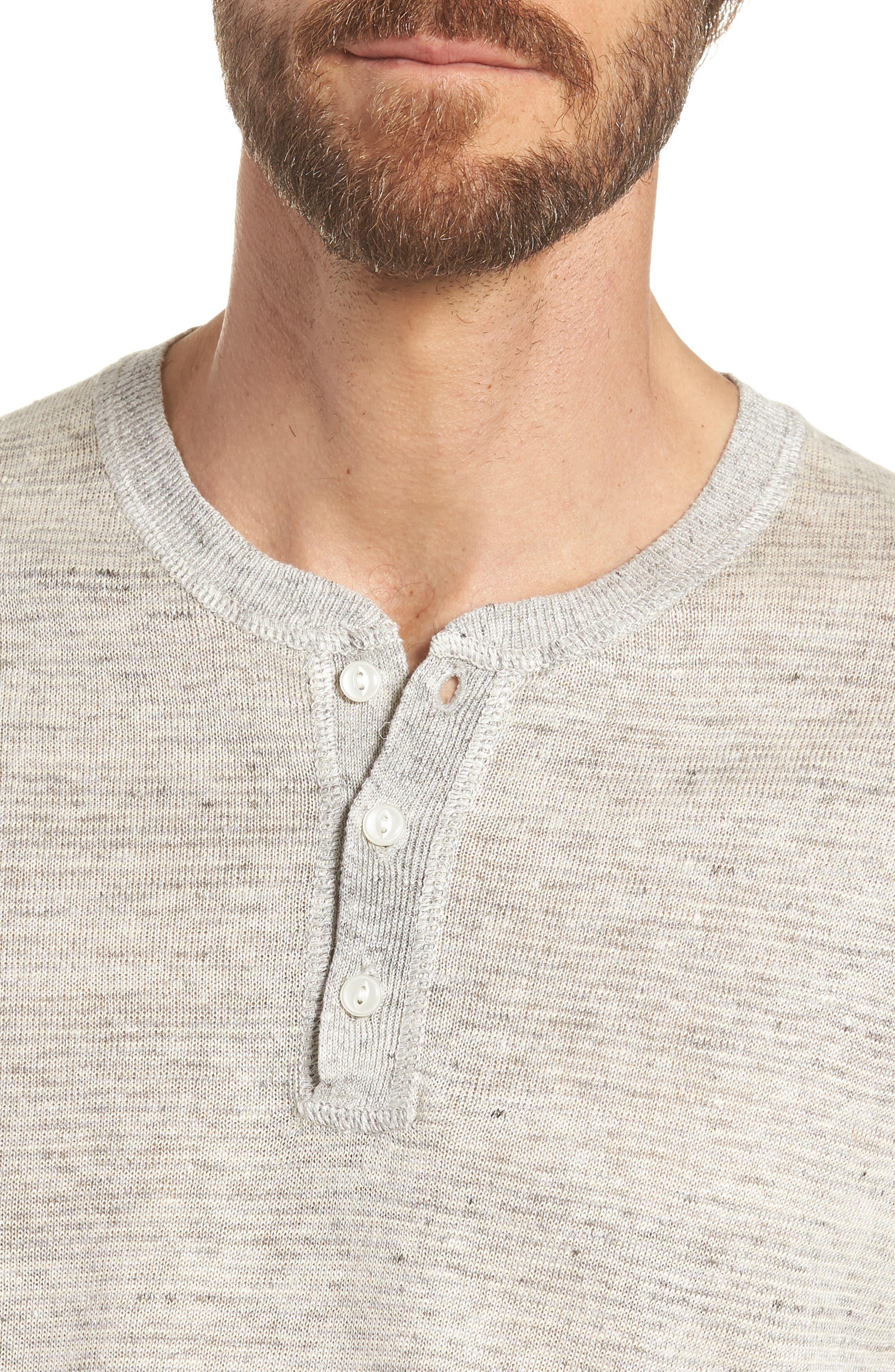 Linen Henley T-Shirt,                             Alternate thumbnail 4, color,                             022