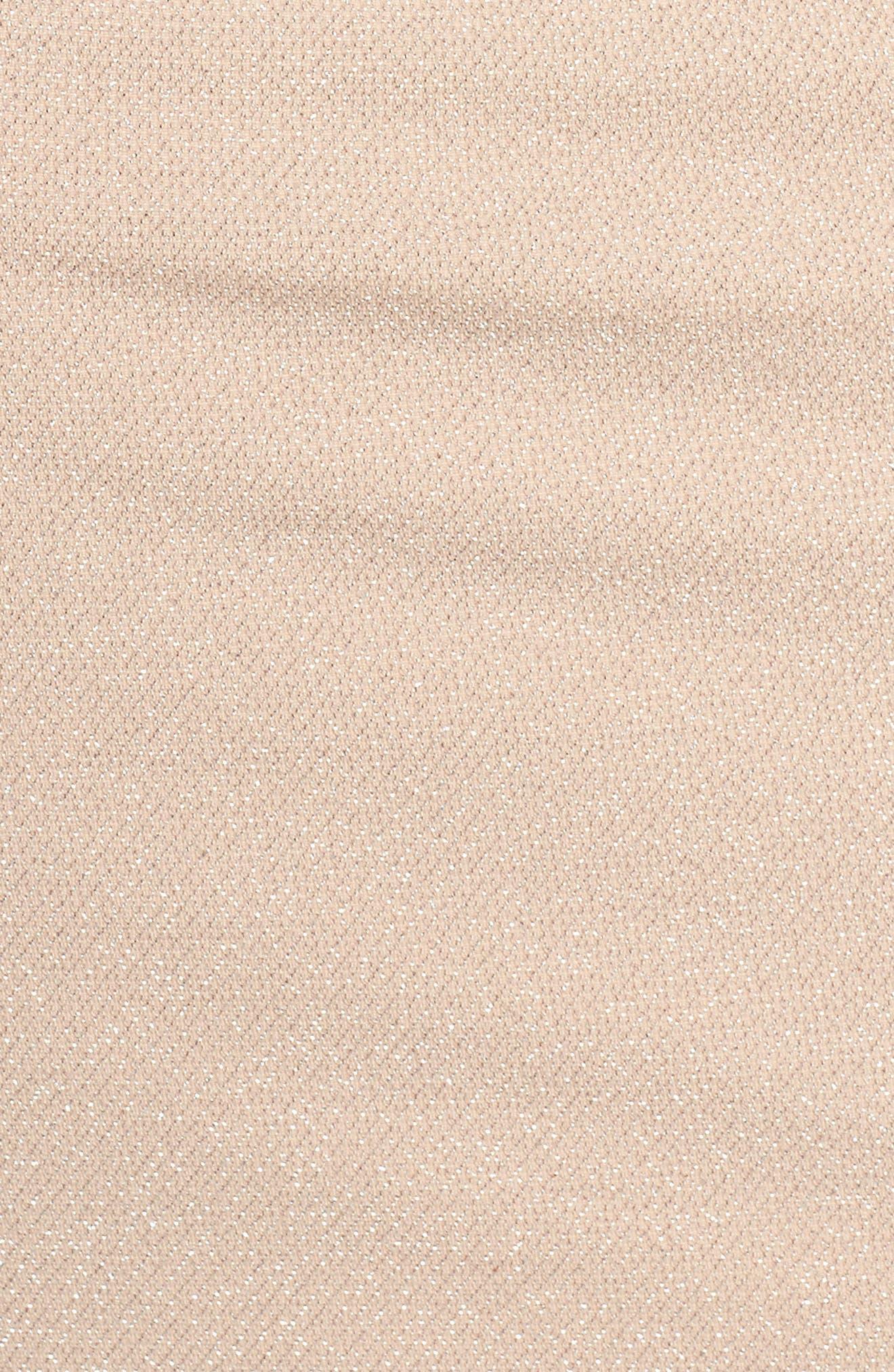Off the Shoulder Metallic Knit Sheath Dress,                             Alternate thumbnail 5, color,                             684