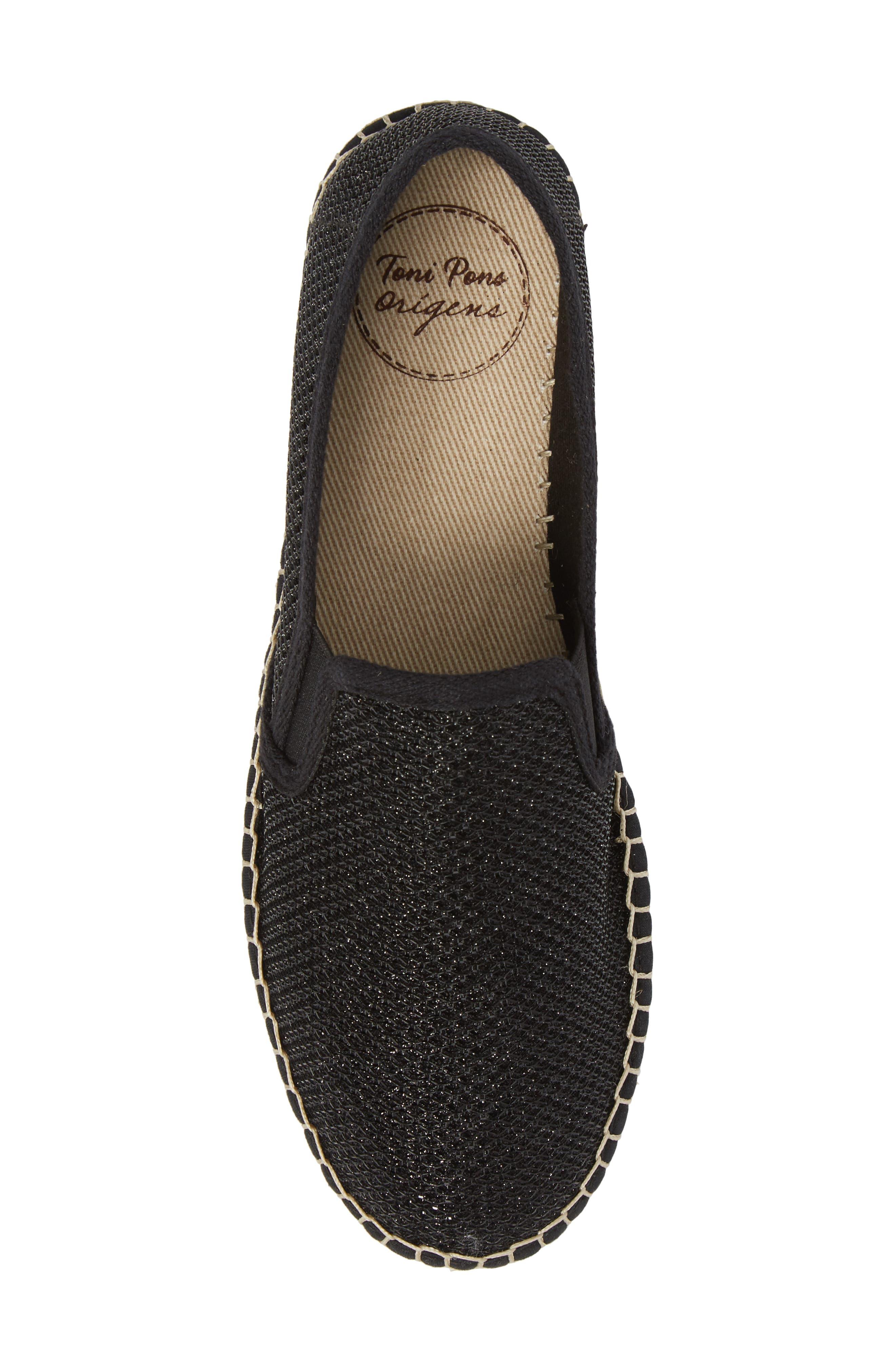 Fonda Platform Espadrille Sneaker,                             Alternate thumbnail 5, color,                             BLACK FABRIC