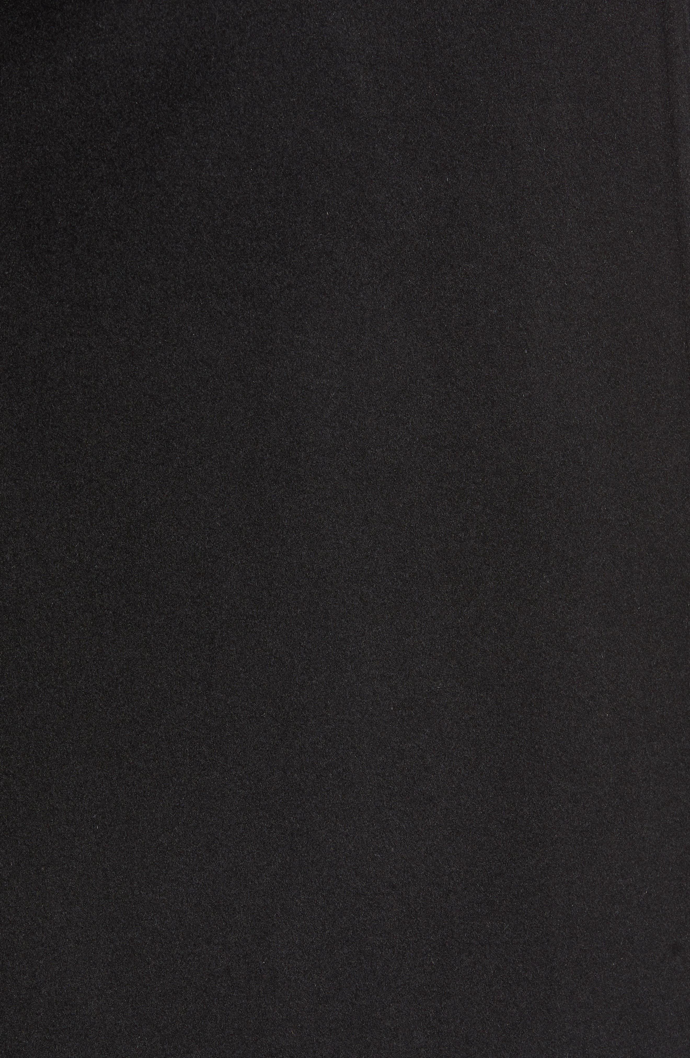Shawl Collar Hooded Coat,                             Alternate thumbnail 7, color,                             BLACK