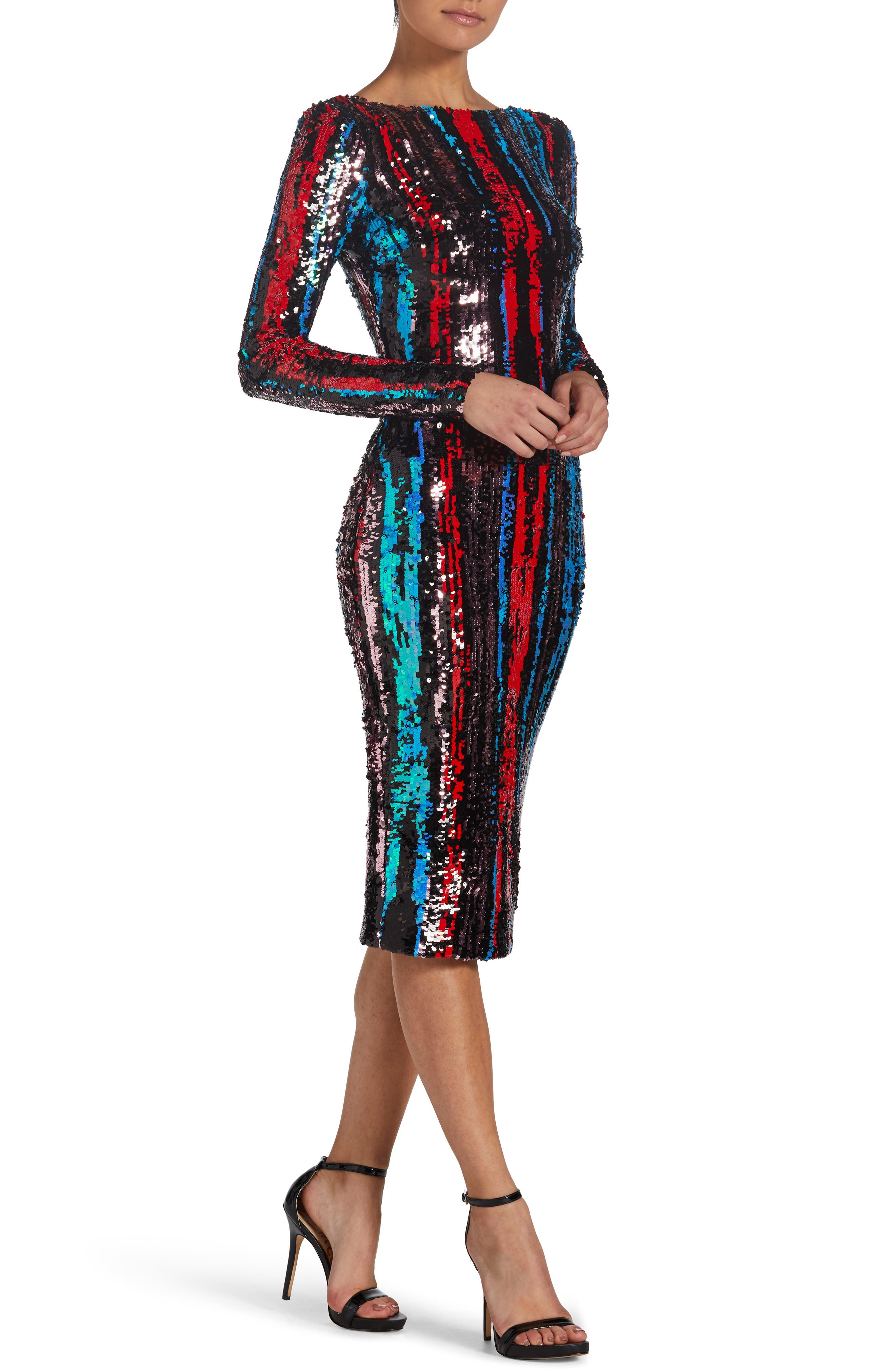 Emery Scoop Back Dress,                             Alternate thumbnail 7, color,                             ROUGE RED MULTI