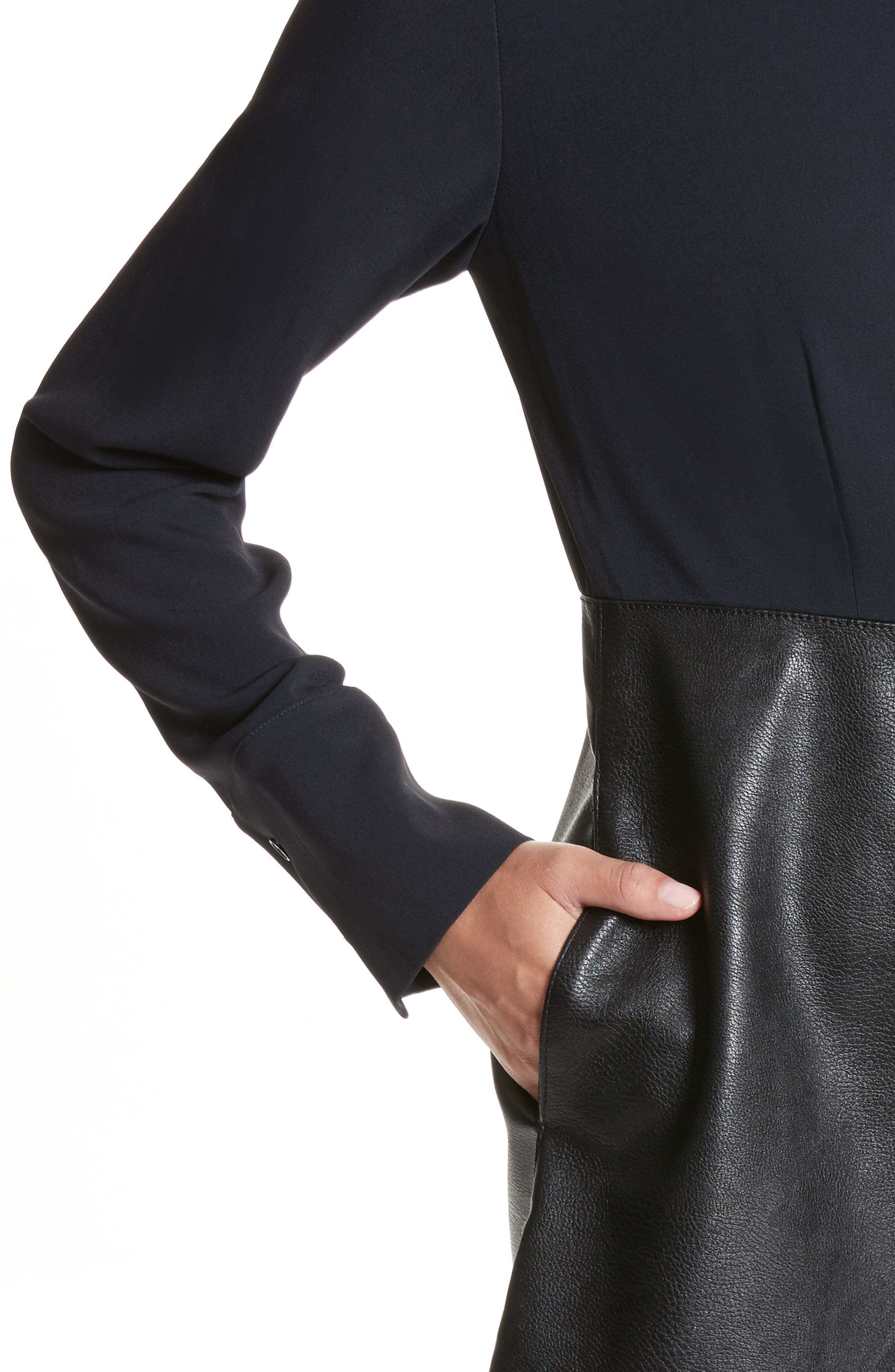 Alter Leather & Stretch Cady Dress,                             Alternate thumbnail 4, color,                             001