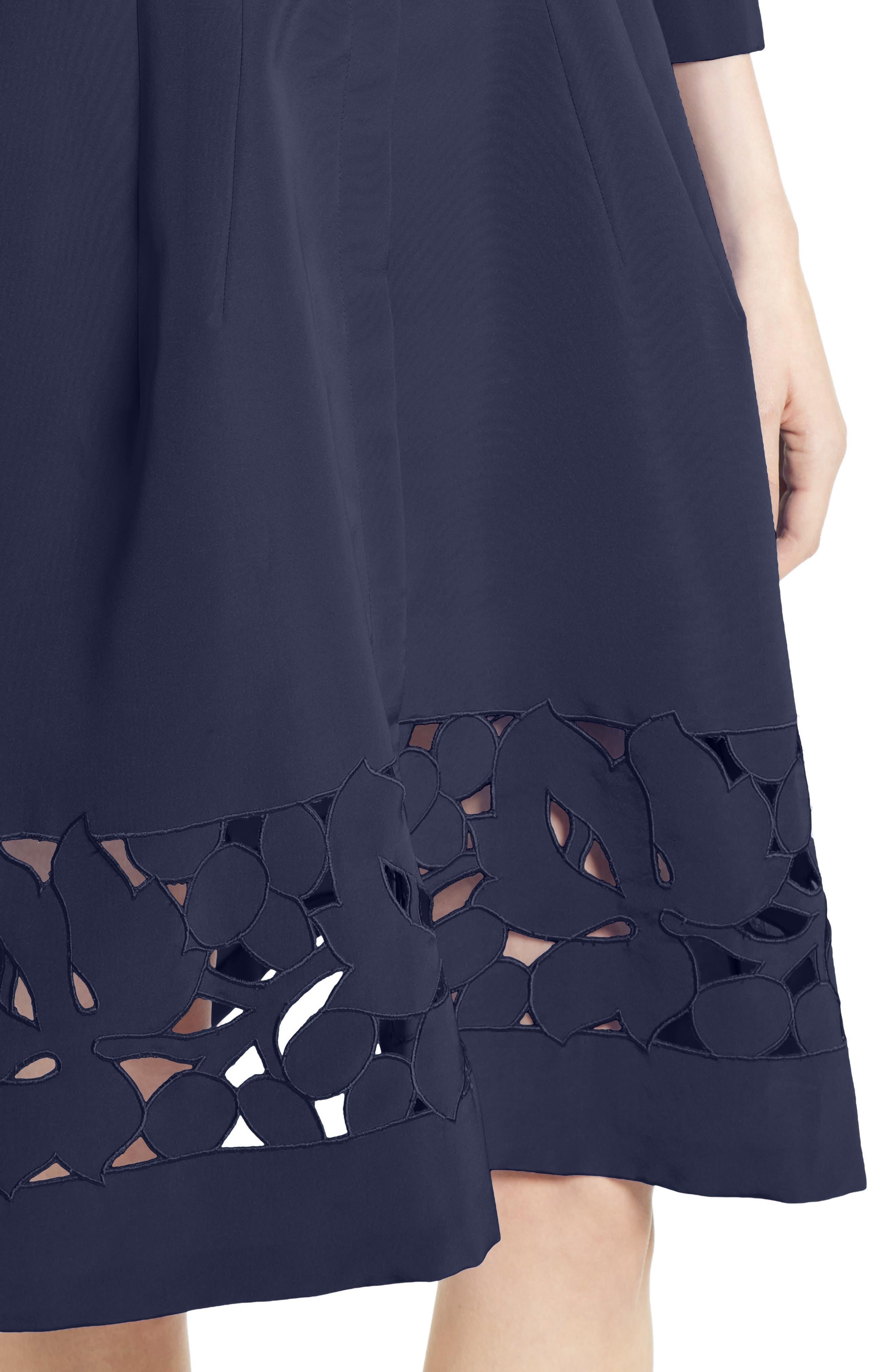 Carolina Herrerra Laser Cut Eyelet Button Front Dress,                             Alternate thumbnail 4, color,                             400