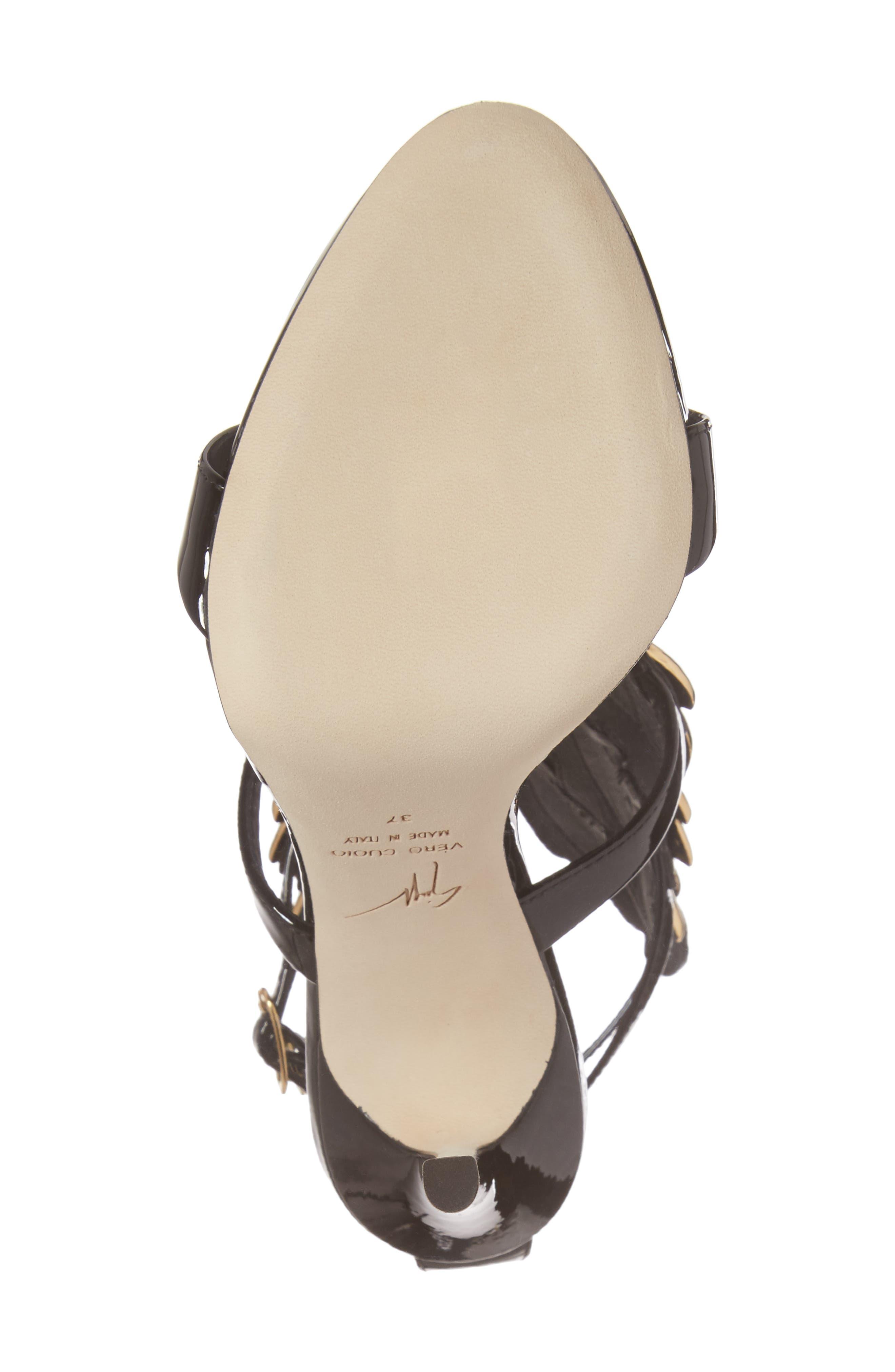 Cruel Wing Sandal,                             Alternate thumbnail 6, color,                             BLACK/ GOLD