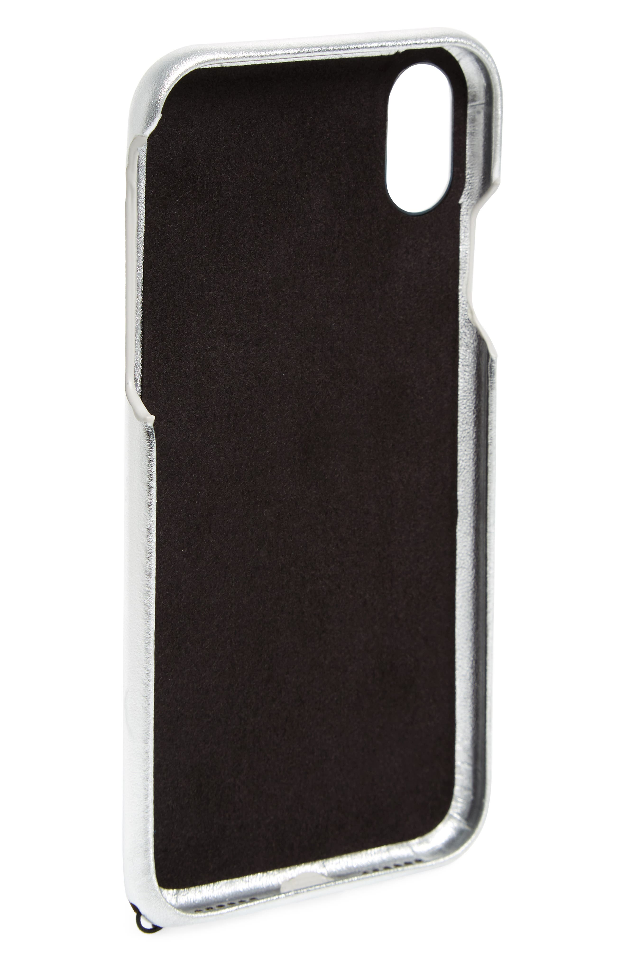 Metallic Leather iPhone X Wristlet Case with Charms,                             Alternate thumbnail 2, color,                             041