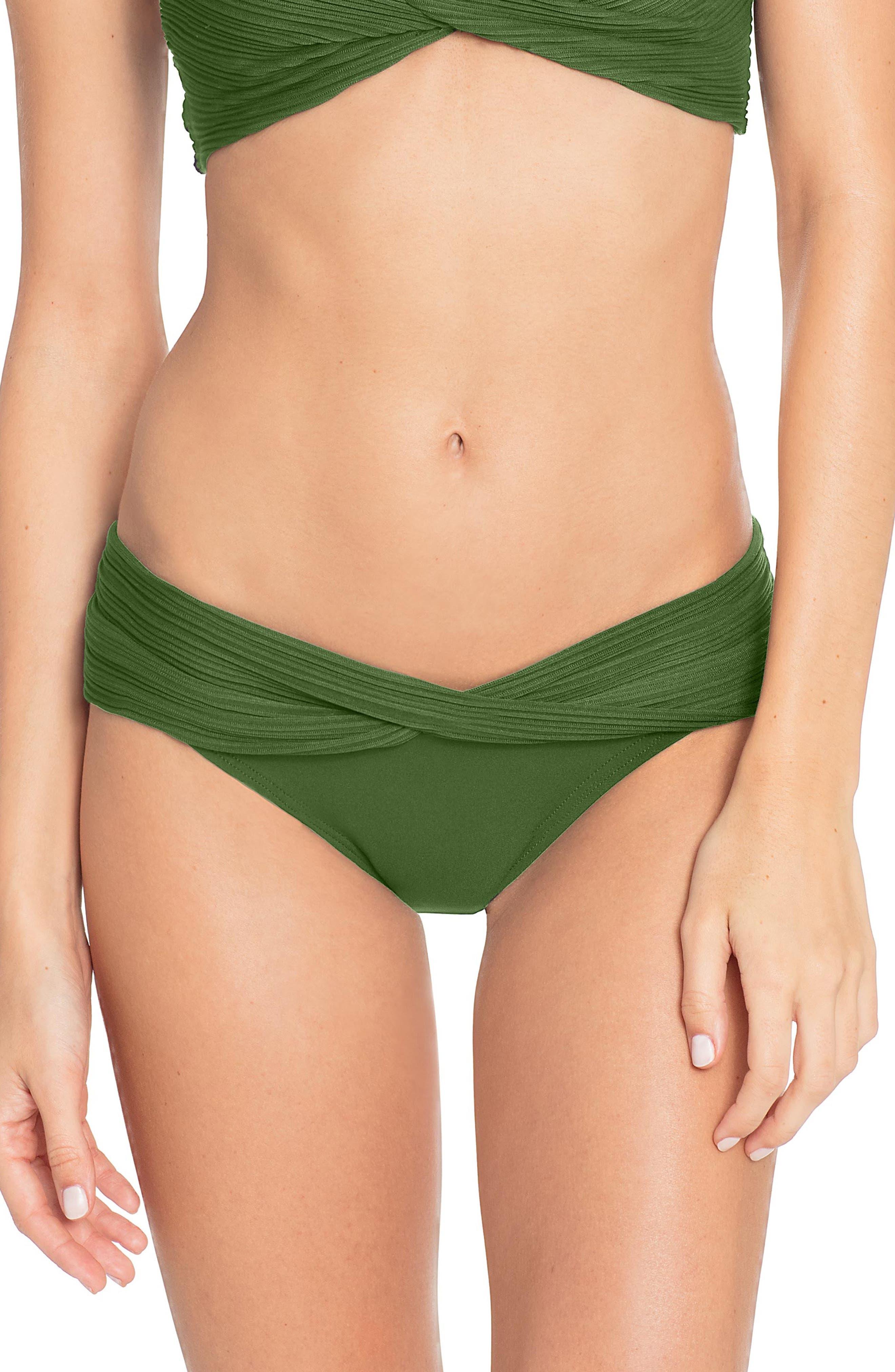 Robin Piccone Twist Waistband Hipster Bikini Bottoms, Green
