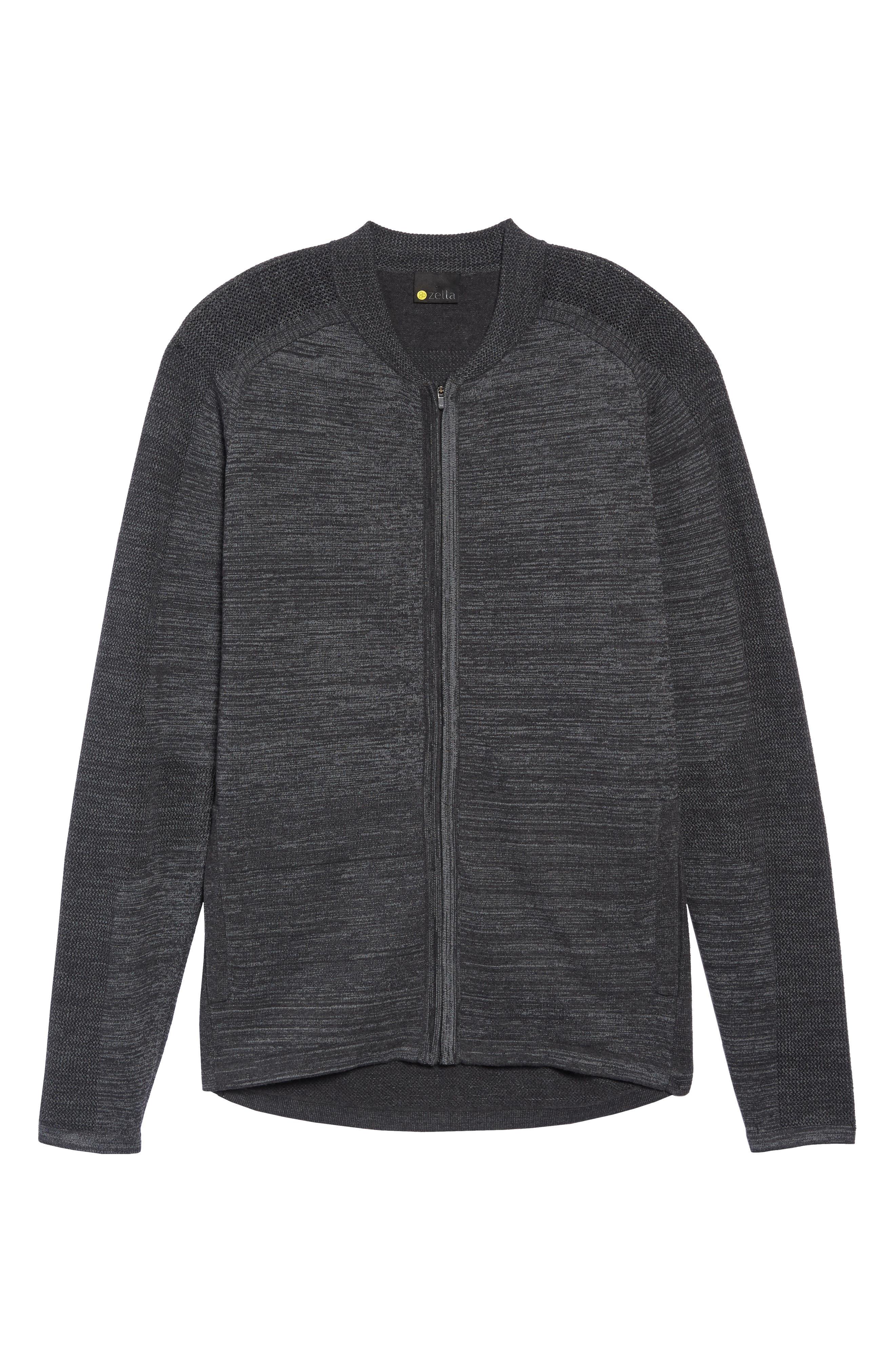 Tech Sweater Baseball Jacket,                             Alternate thumbnail 6, color,                             BLACK OXIDE SPACEDYE