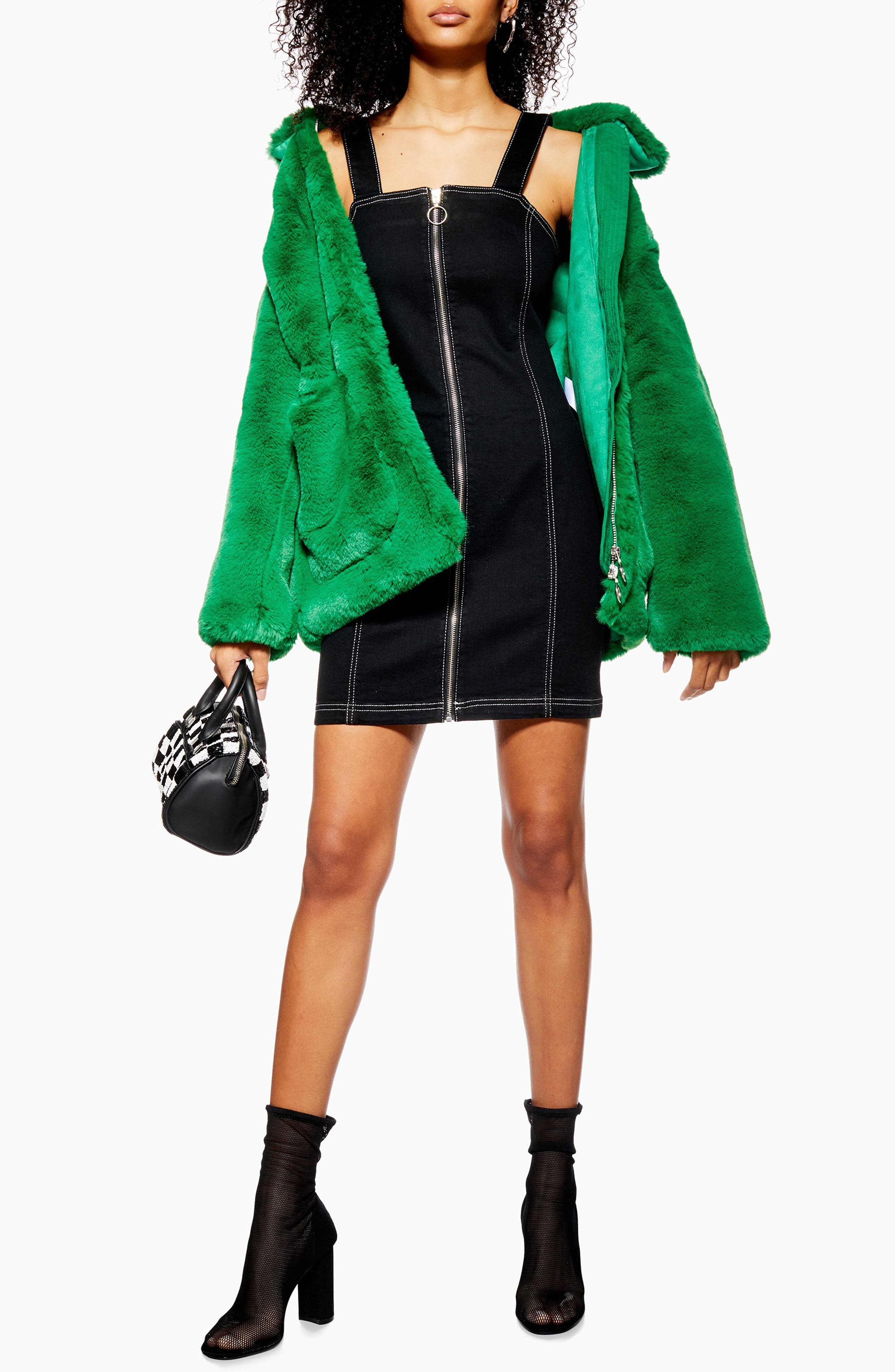 TOPSHOP,                             Stretch Denim Zip Dress,                             Main thumbnail 1, color,                             WASHED BLACK