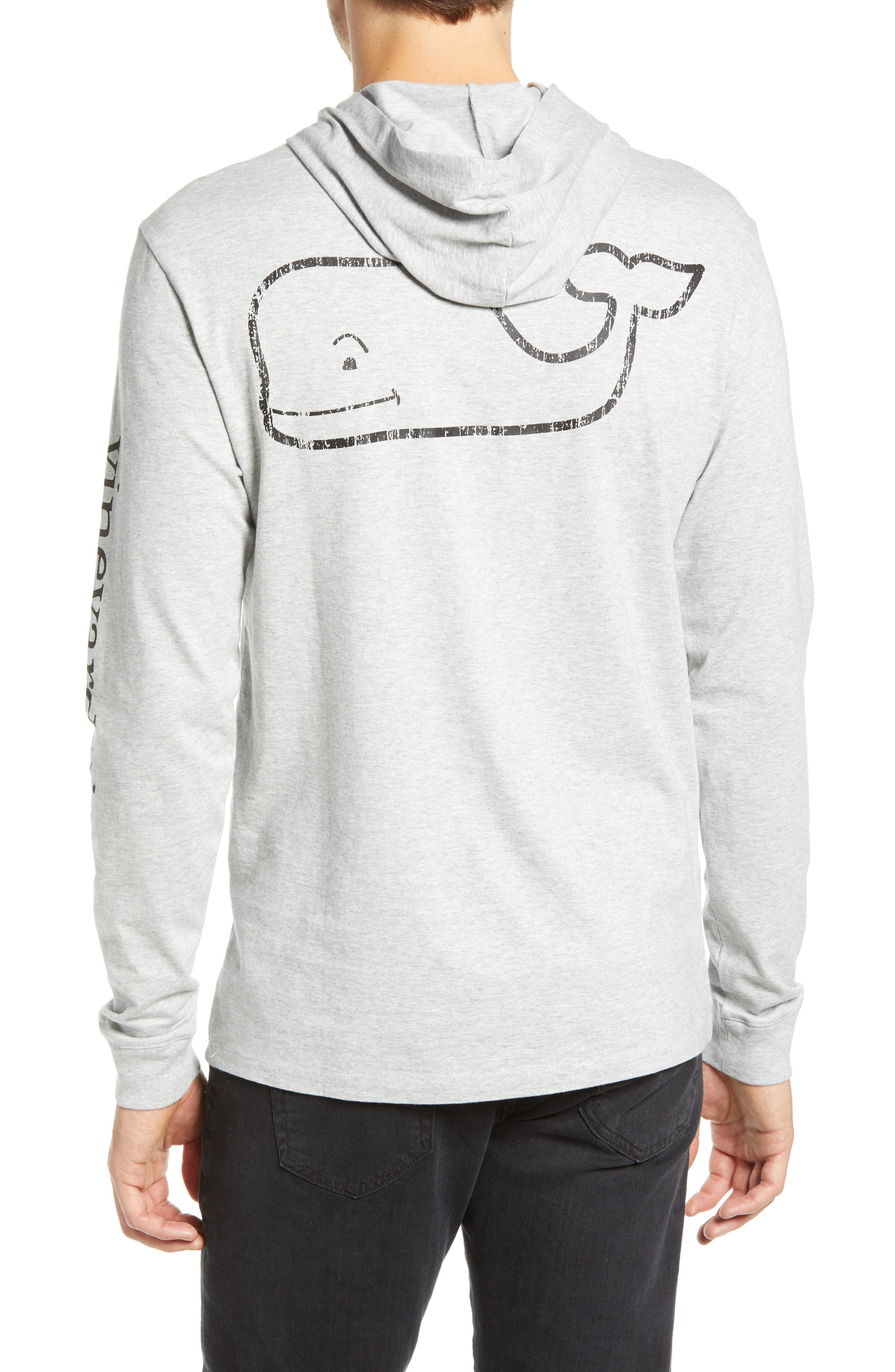 Whale Graphic Long Sleeve Hooded T-Shirt,                             Alternate thumbnail 2, color,                             GREY HEATHER