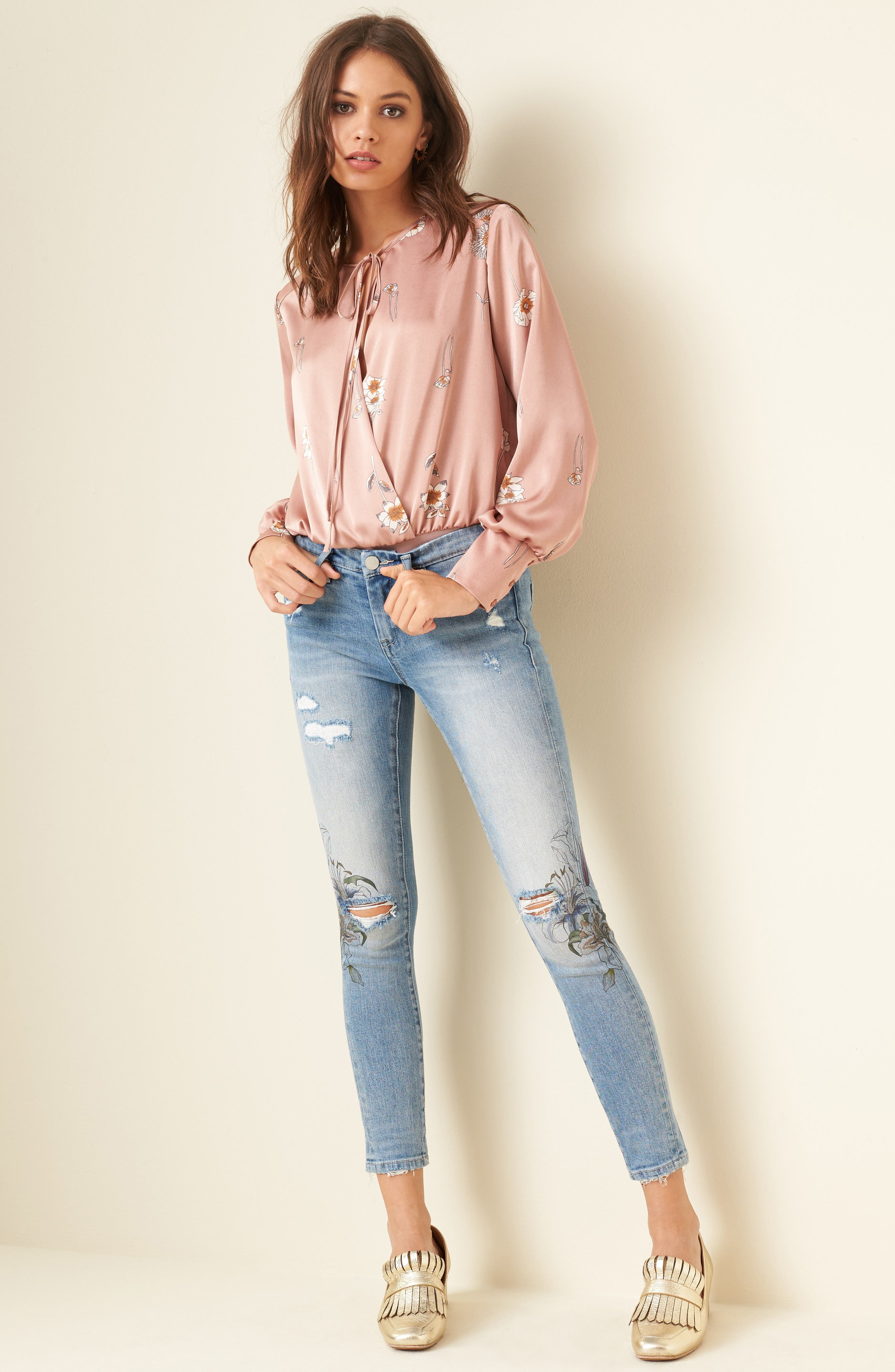 Print Ripped Skinny Jeans,                             Alternate thumbnail 7, color,                             400