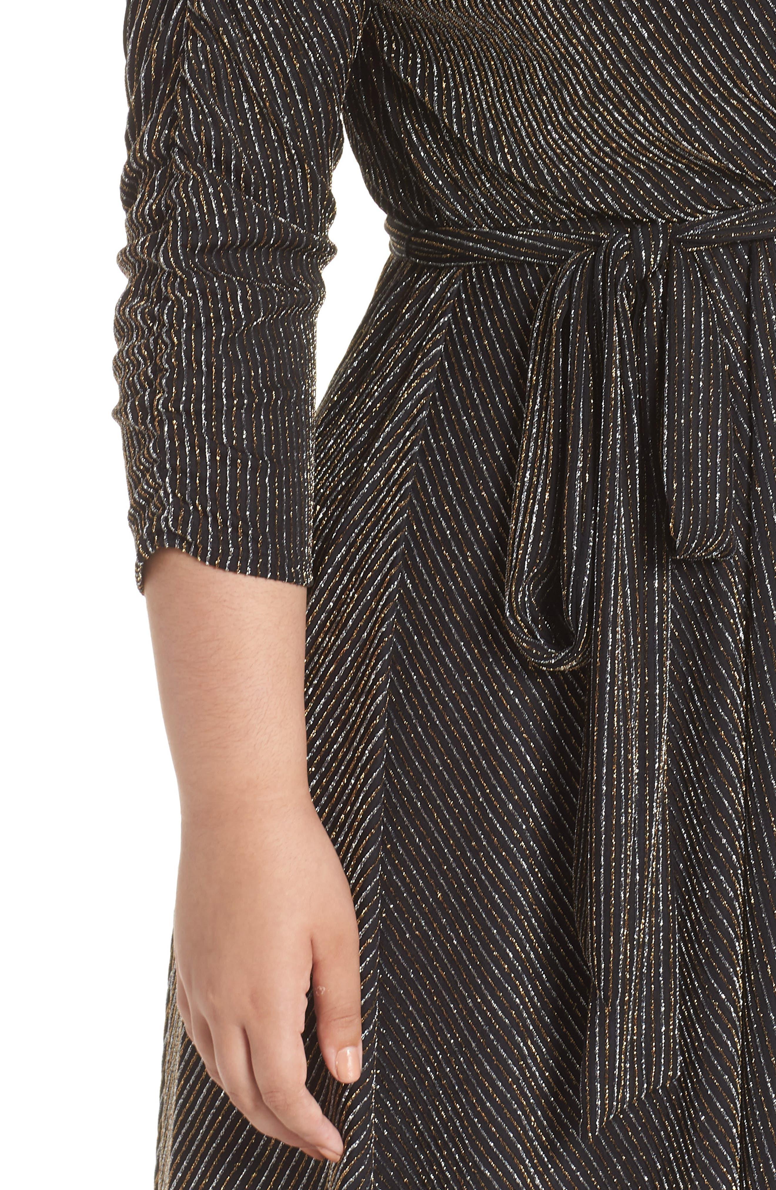 CHELSEA28,                             Metallic Tie Waist Dress,                             Alternate thumbnail 3, color,                             001