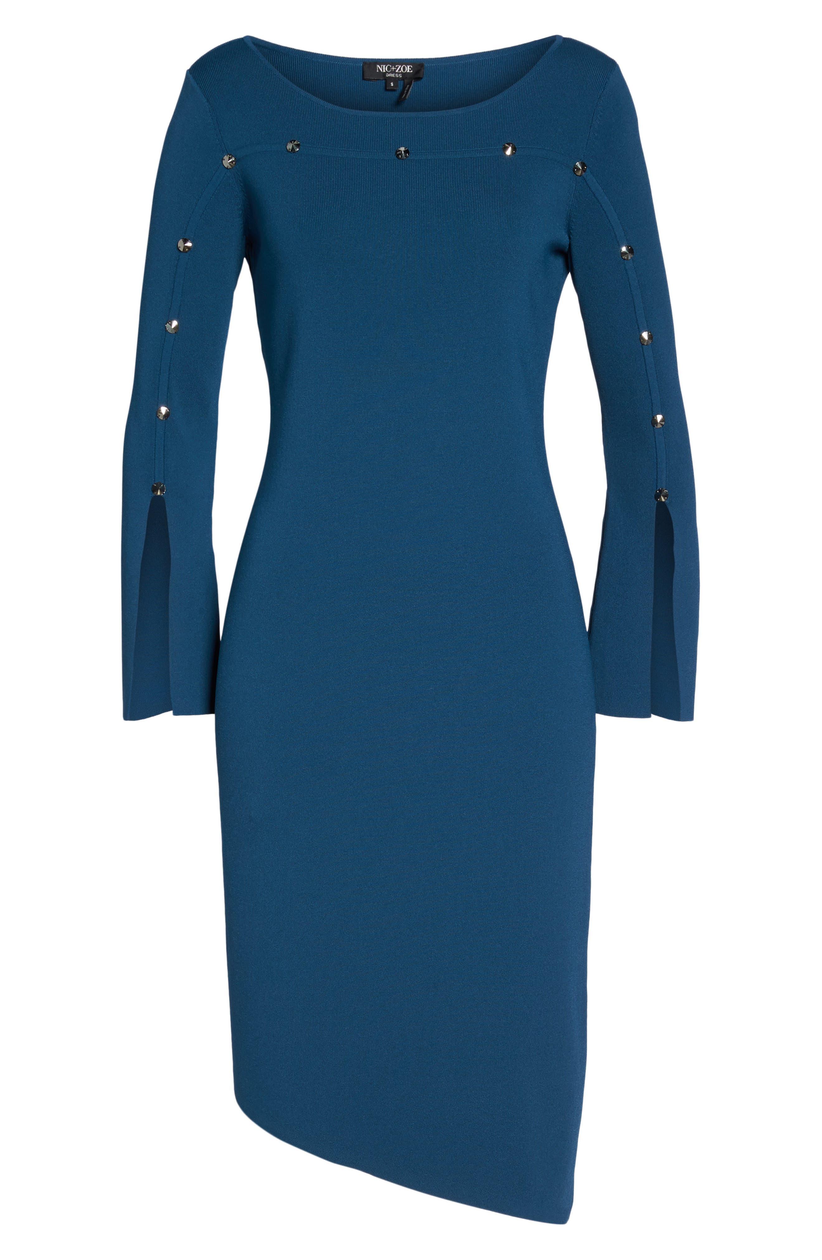Studded Asymmetrical Dress,                             Alternate thumbnail 12, color,