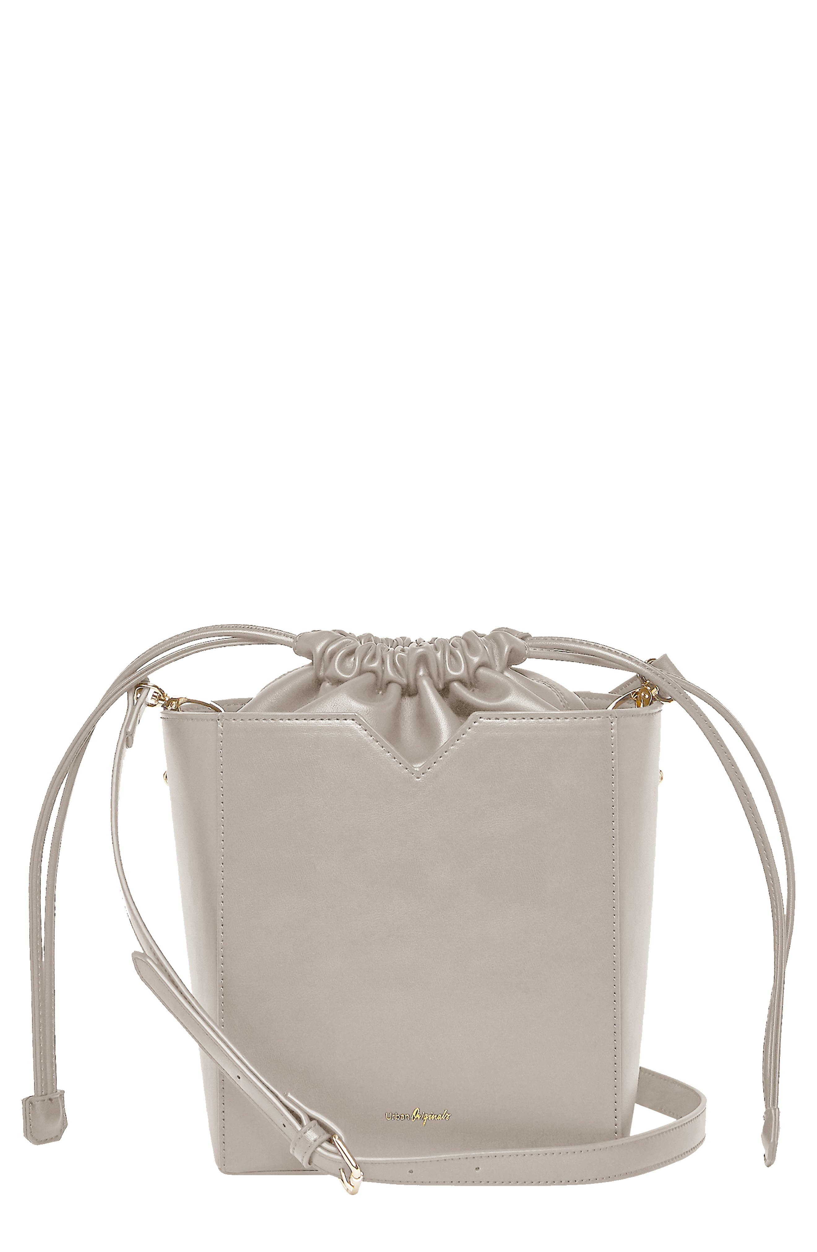 Be Yourself Vegan Leather Bucket Bag,                         Main,                         color, GREY