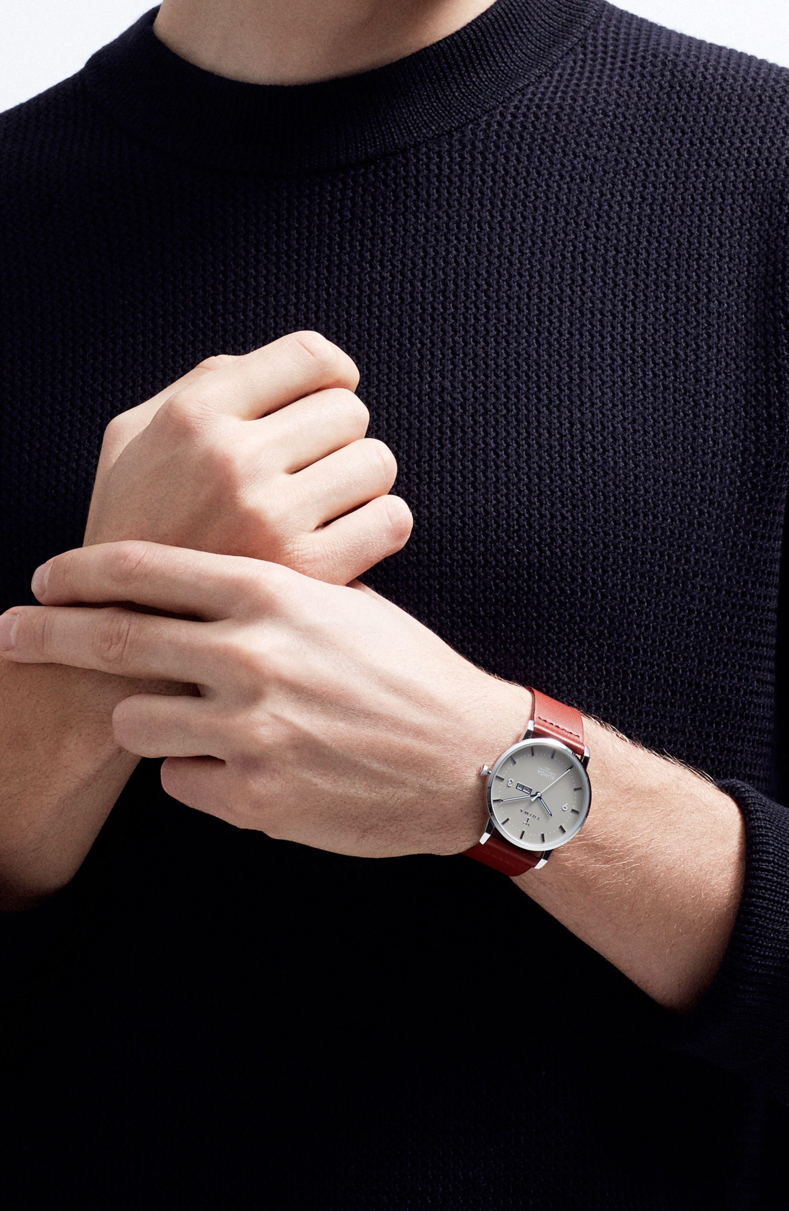 Mist Klinga Leather Strap Watch, 38mm,                             Alternate thumbnail 4, color,                             COGNAC/ SILVER